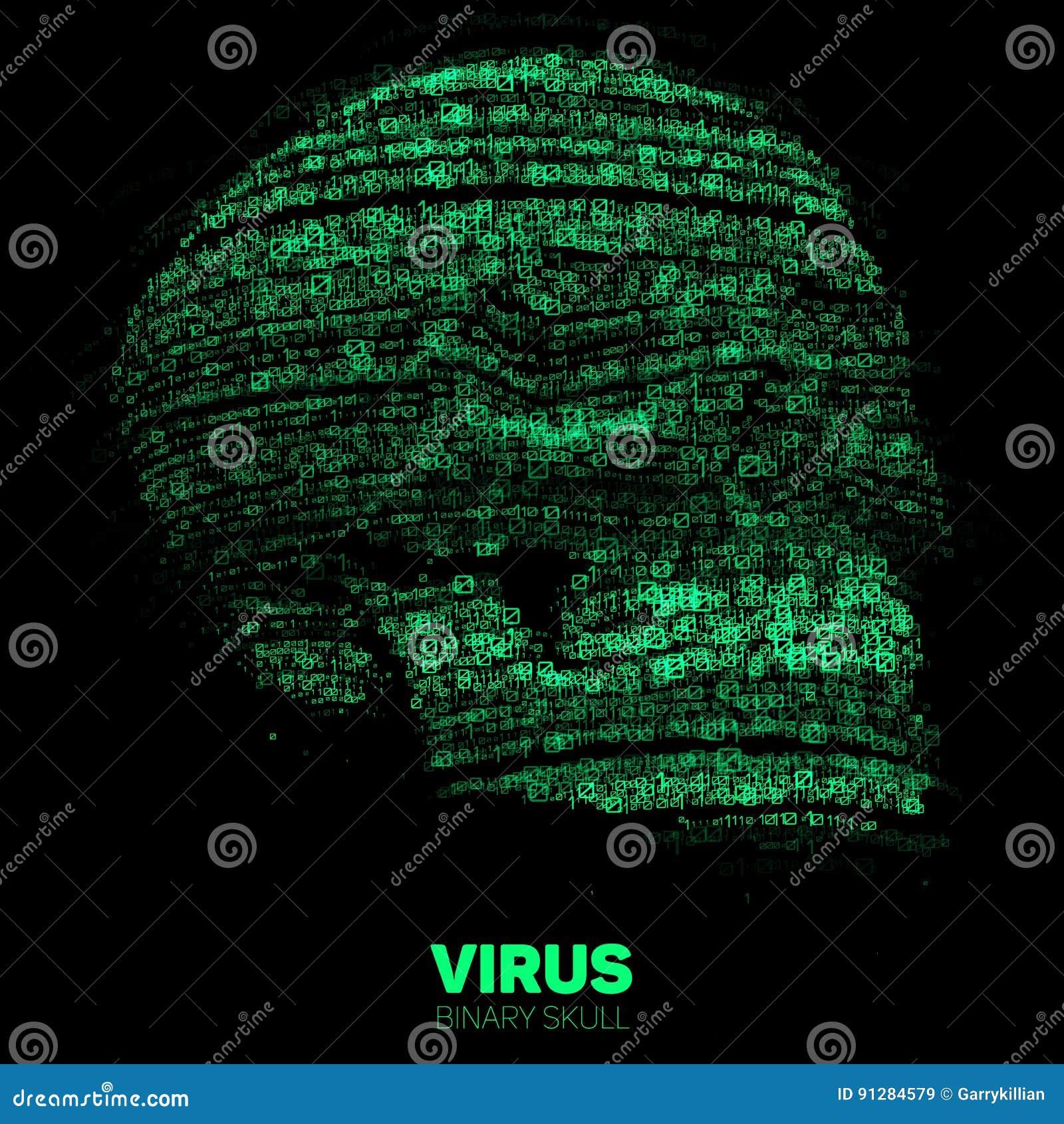 Vektorskalle som konstrueras med grön binär kod Illustration för internetsäkerhetsbegrepp Virus- eller malwareabstrakt begrepp