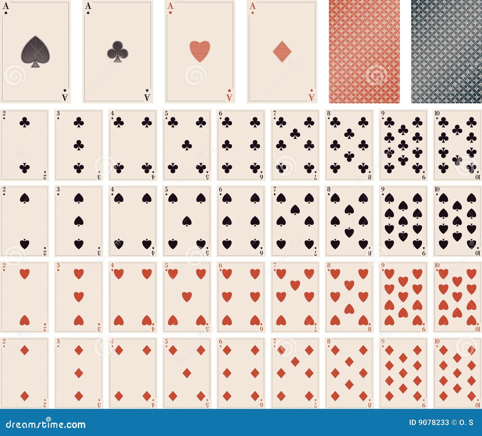 Vektorspielkarten 1 bis 10