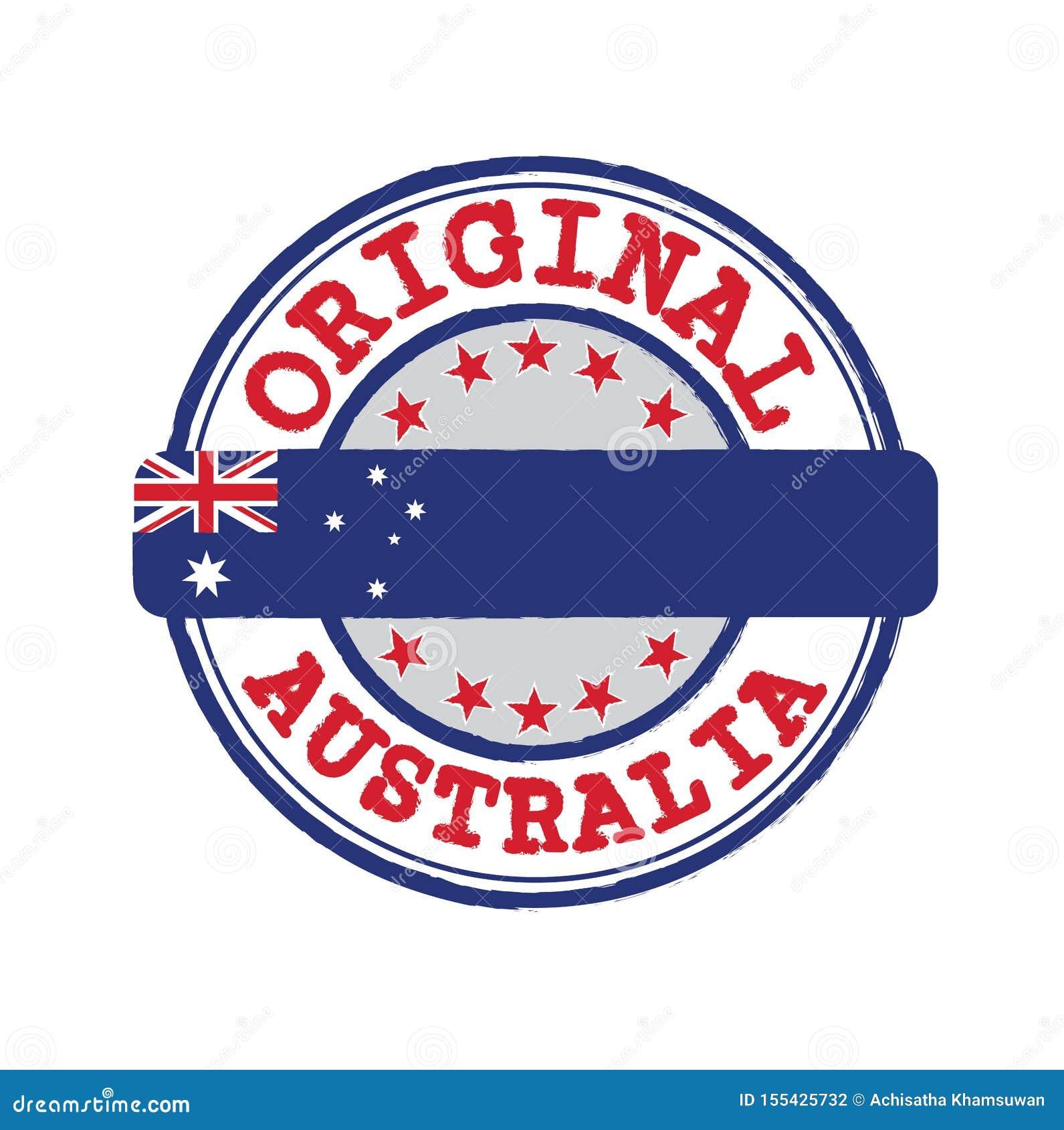 Vektorstämpel av den original- logoen med text Australien och band i mitt med nationflaggan