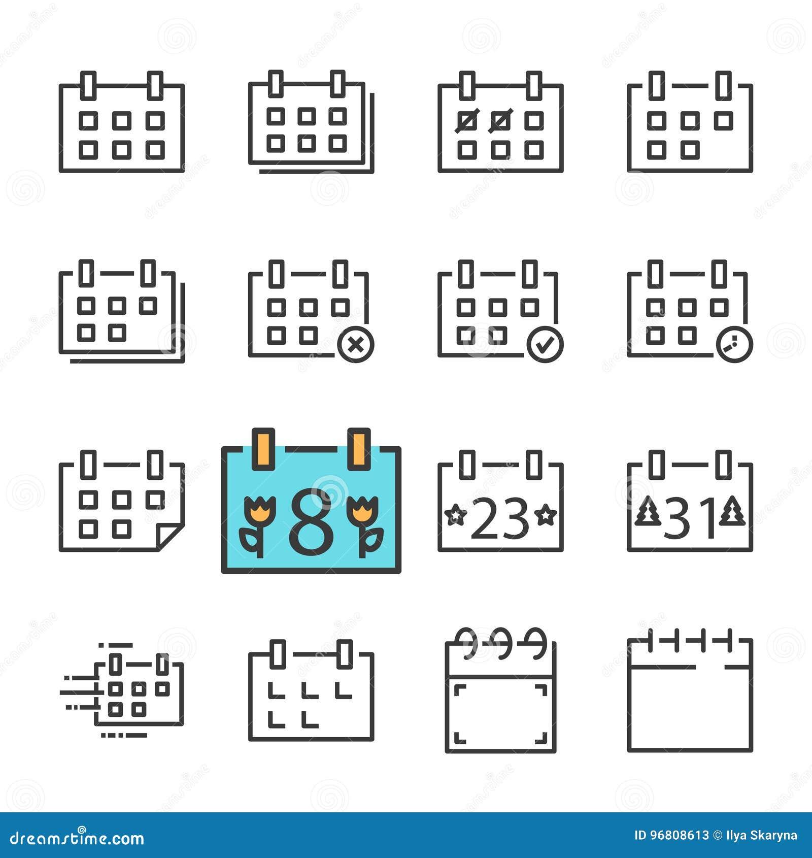 Vektorsvartlinje kalendersymbolsuppsättning Inkluderar sådana symboler som kalendern som kasseras Godkänt ferie