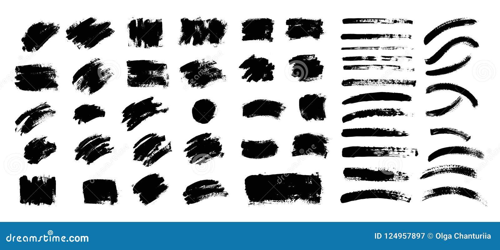 Vektorsvartmålarfärg, färgpulverborsteslaglängd, borste Klottra textur