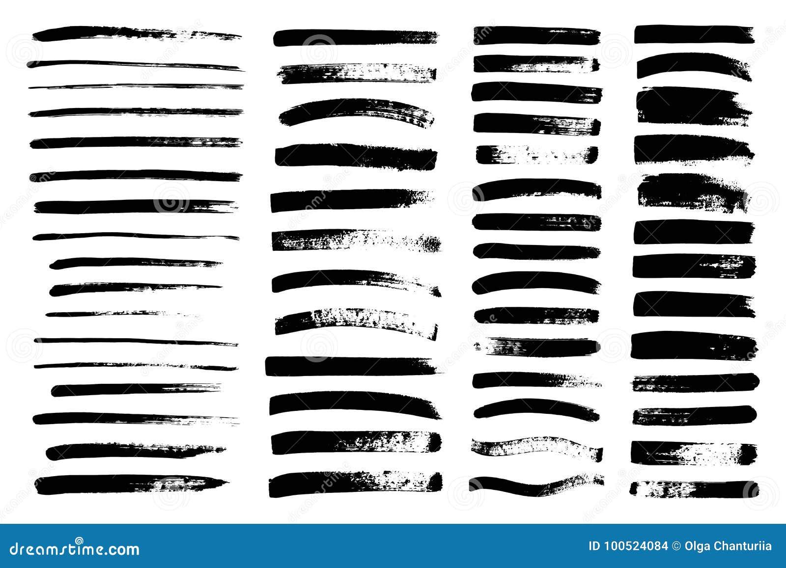 Vektorsvartmålarfärg, färgpulverborsteslaglängd, borste, linje