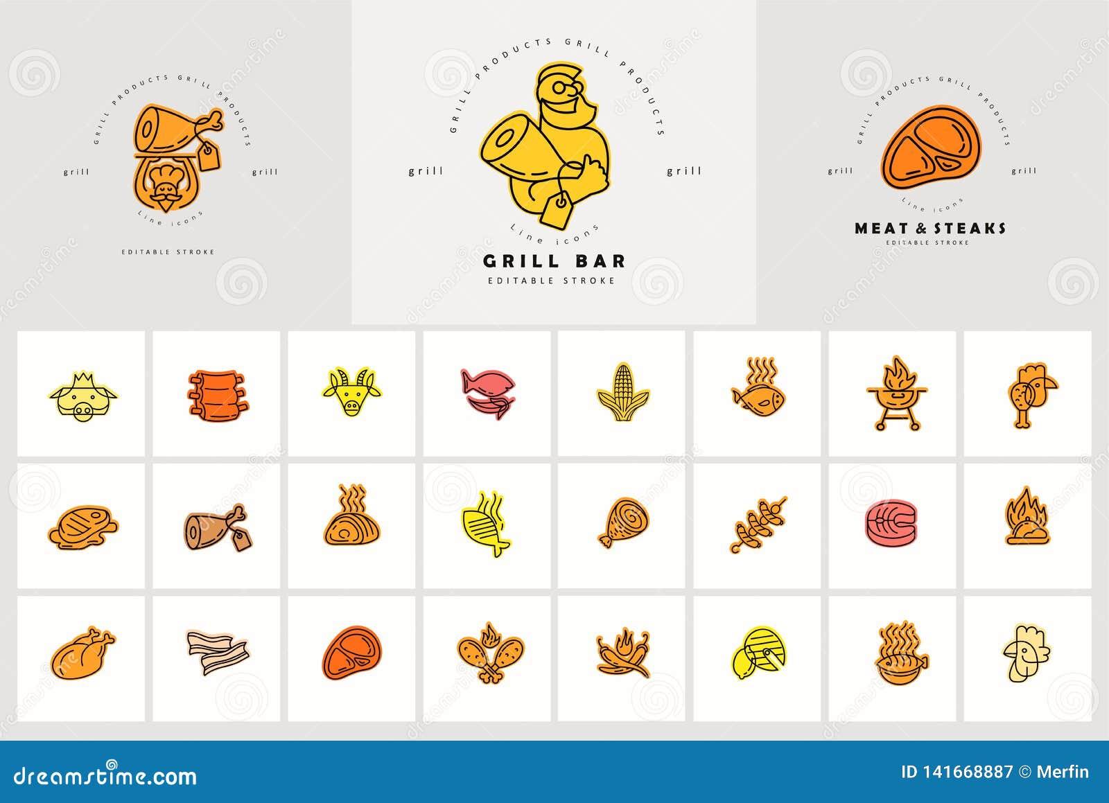 Vektorsymbol och logo för kött- och gallerkafé- eller biffrestaurang Redigerbart översiktsslaglängdformat Linje plan kontur som ä
