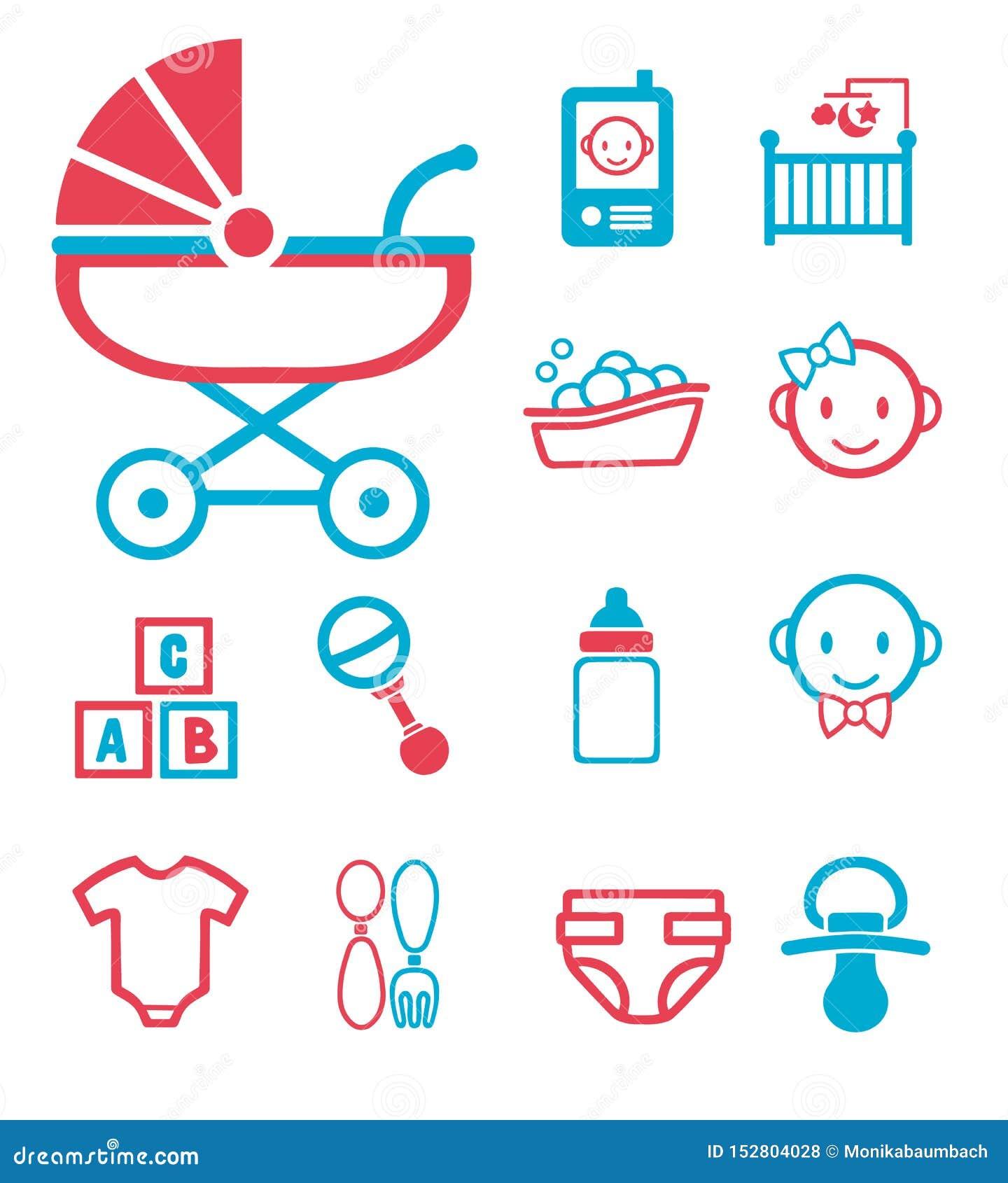 Vektorsymbolen ställde in för att skapa infographicsen släkt barnsbörden, och nyfött behandla som ett barn som behandla som ett b