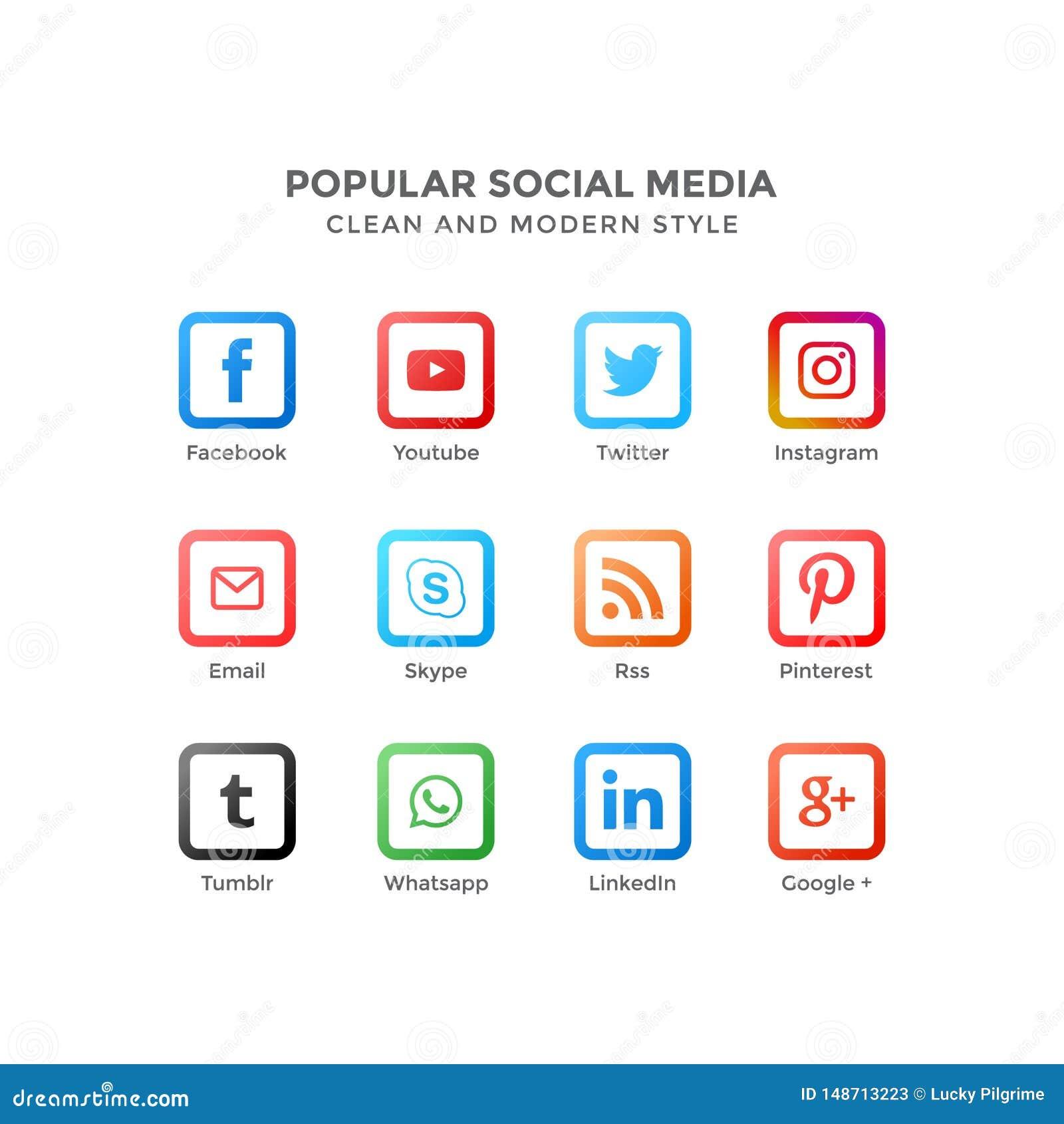 Vektorsymboler av populärt socialt massmedia i ren och modern stil
