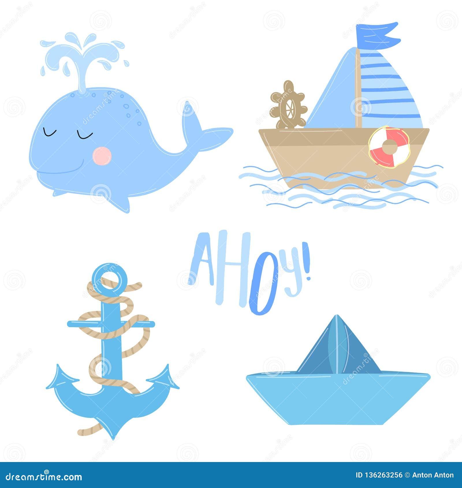 Vektorsymboler av skeppet, ankare, val, fartyg med inskriften Ahoy Illustration på havstemat för en pojkesjöman Inbjudan ca