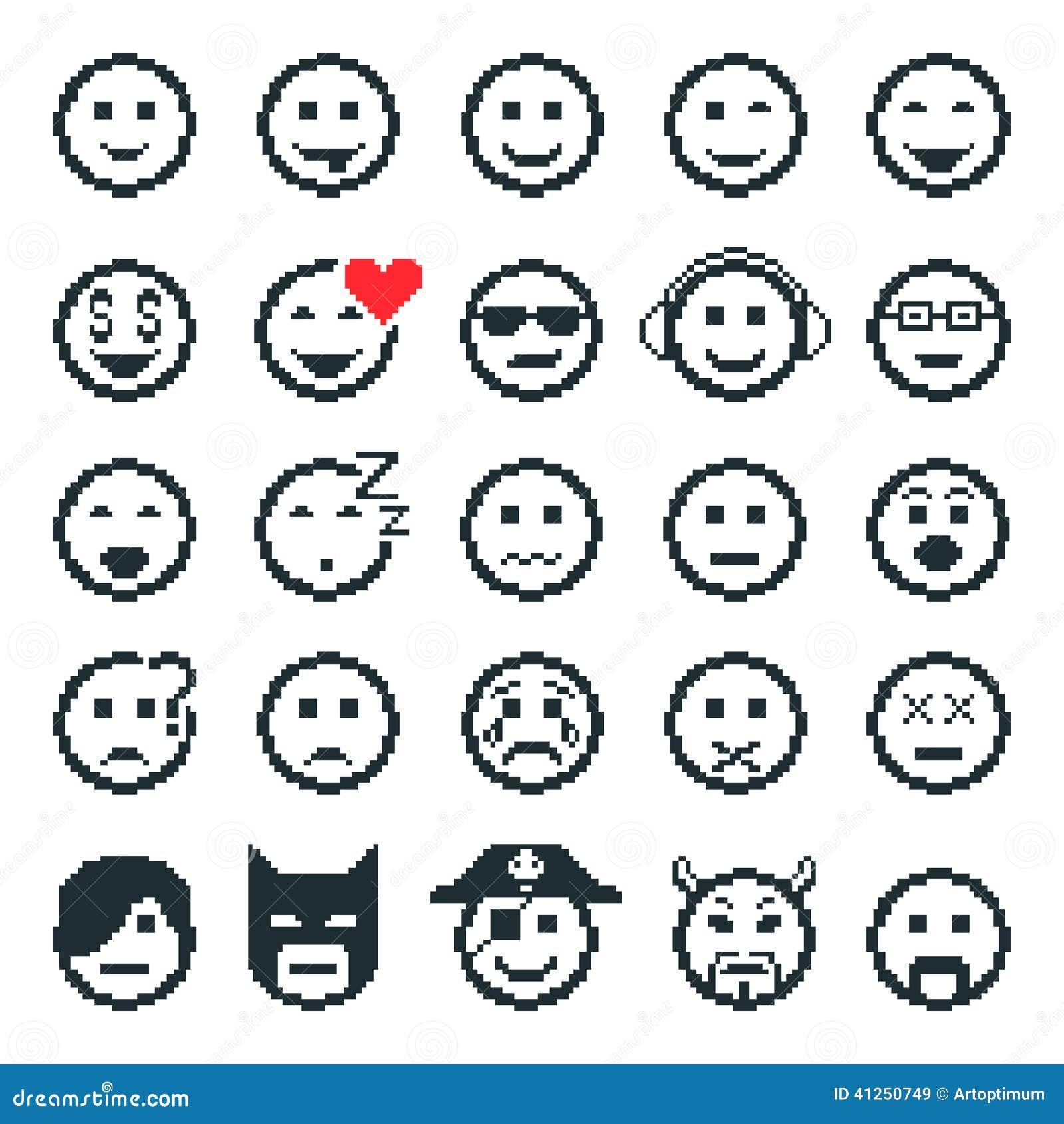 Vektorsymboler av smileyframsidor vektor för digitalt för familj för konst seamless lyckligt för illustration PIXEL för modell