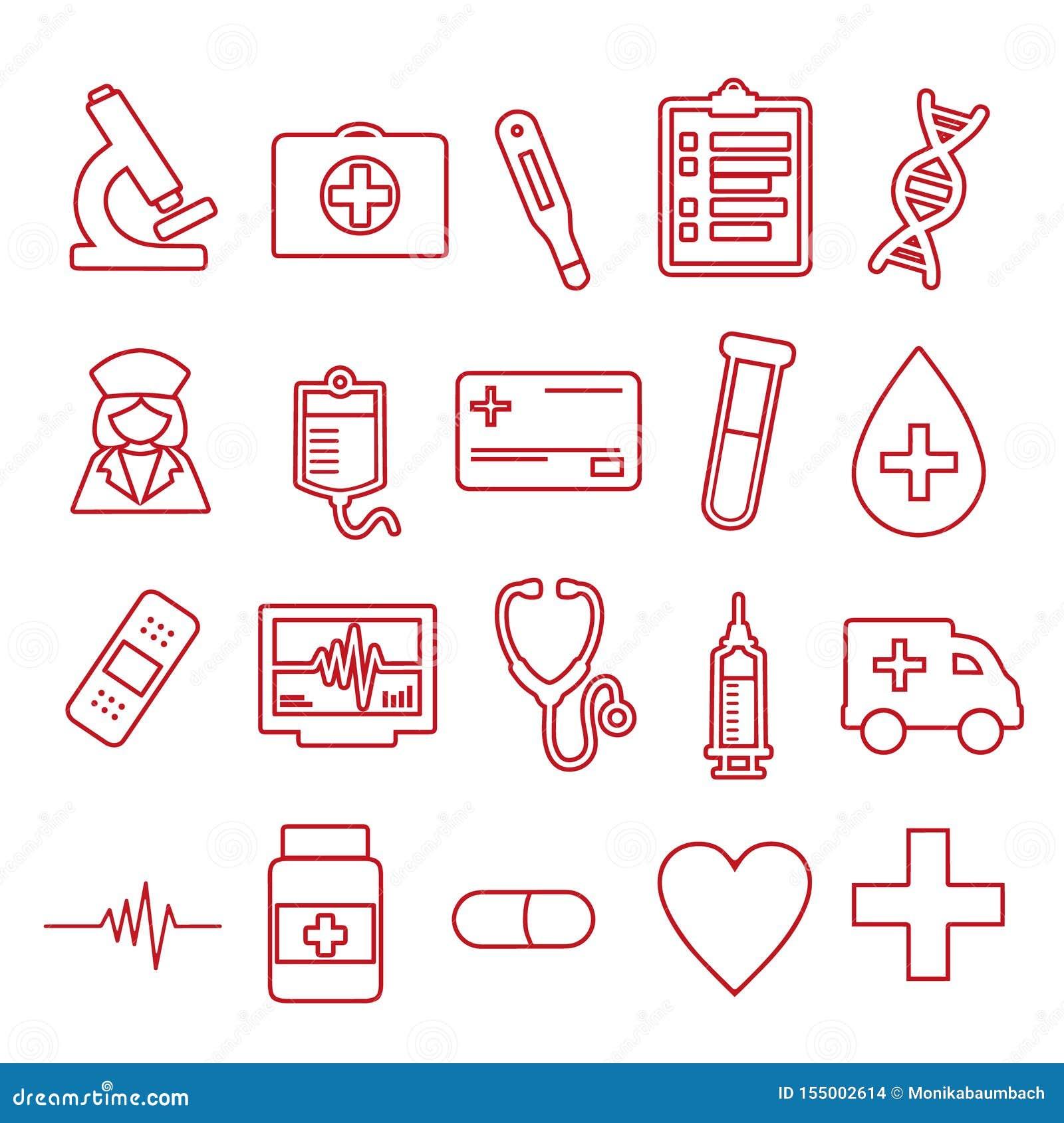 Vektorsymboler ställde in för att skapa infographicsen släkt medicin och hälsa, som injektionssprutan, pillret, sjuksköterskan, a