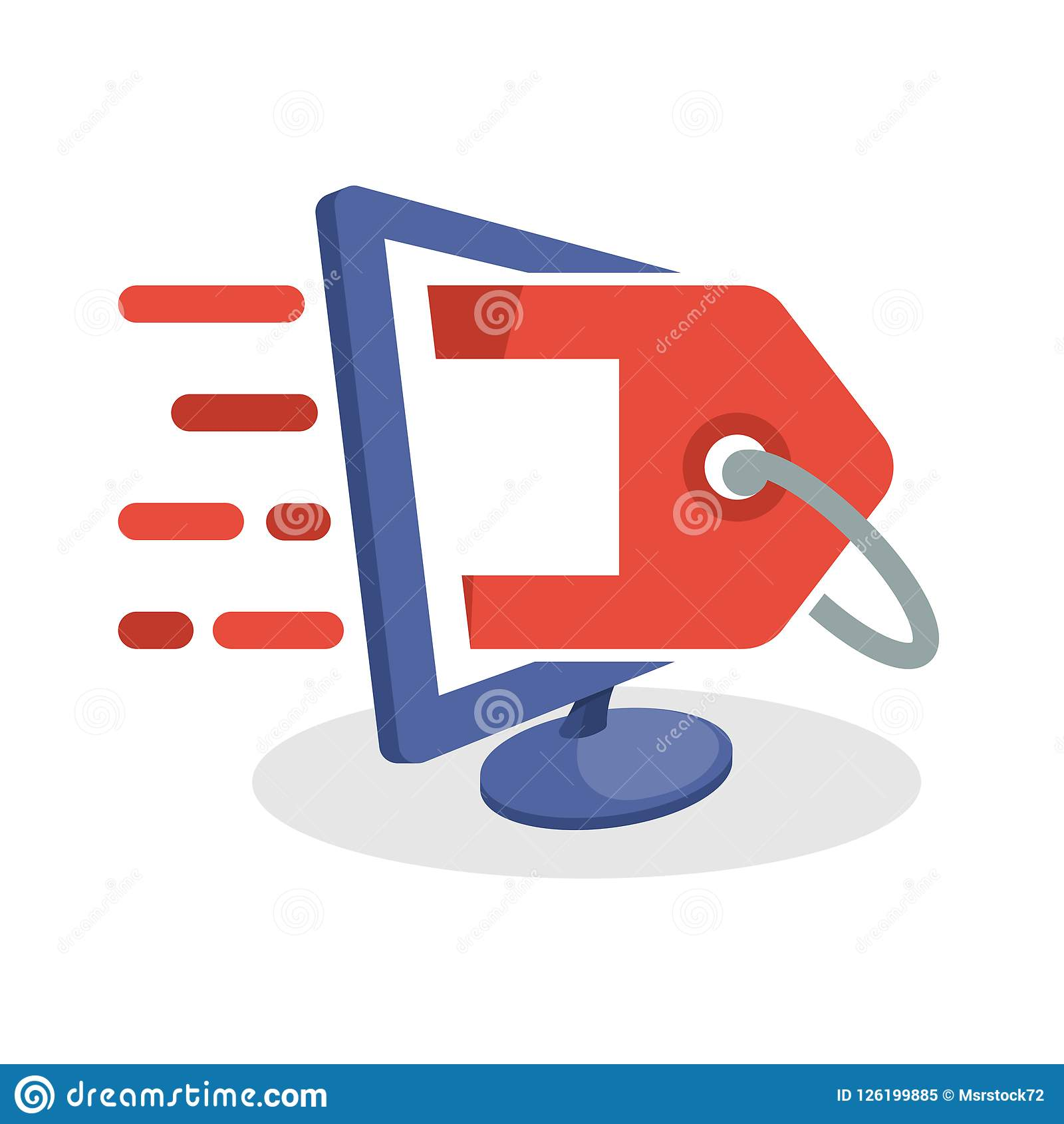 Vektorsymbolsillustration med digitala massmediabegrepp om online-befordrings- information