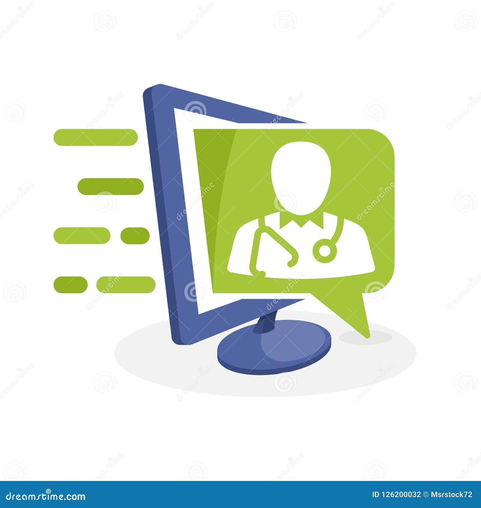 Vektorsymbolsillustration med digitalt massmediabegrepp om vård- information