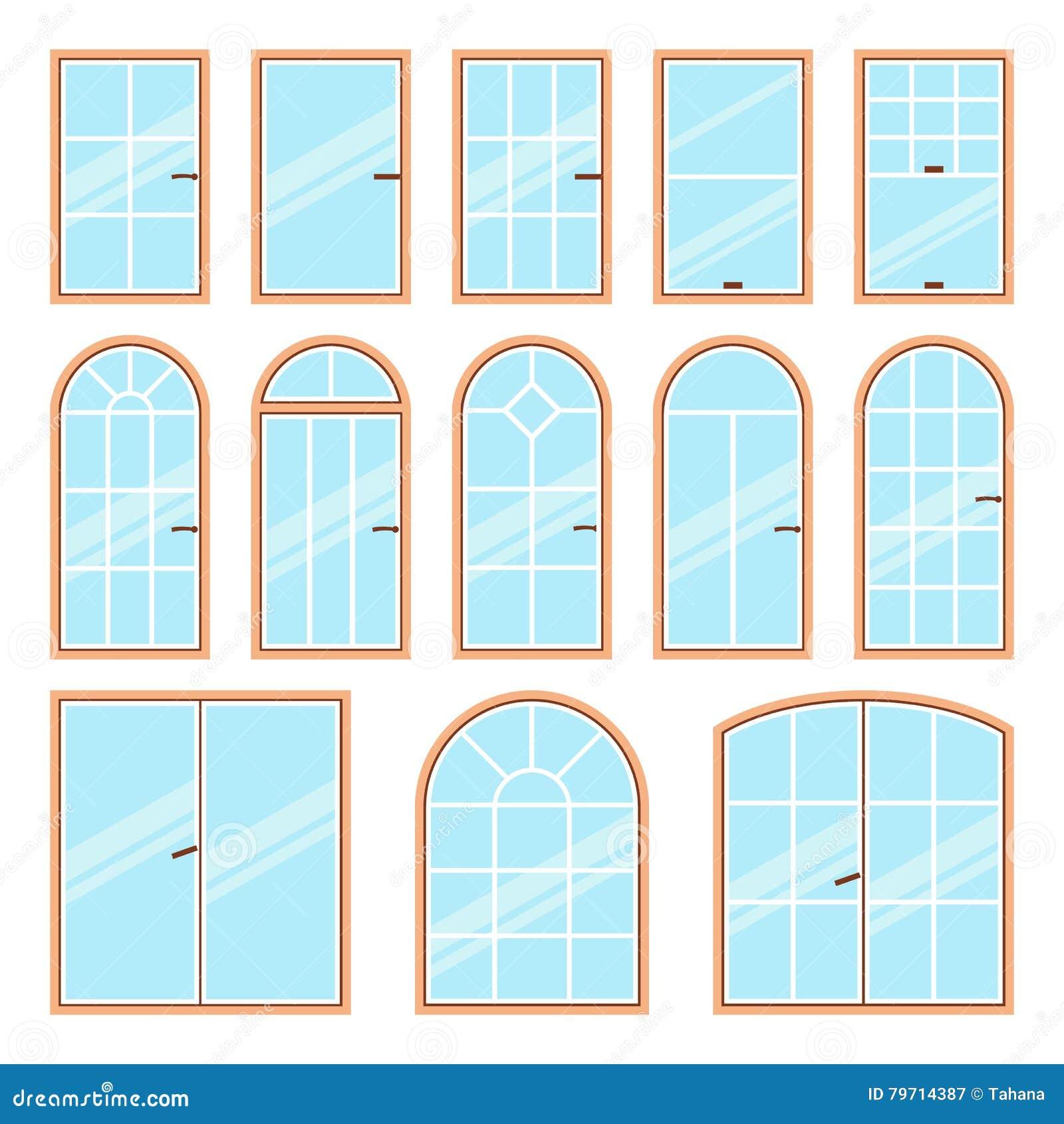 Vektorsymbolsupps ttning av olika typer av f nster vektor for Tipos de ventanas de aluminio para banos