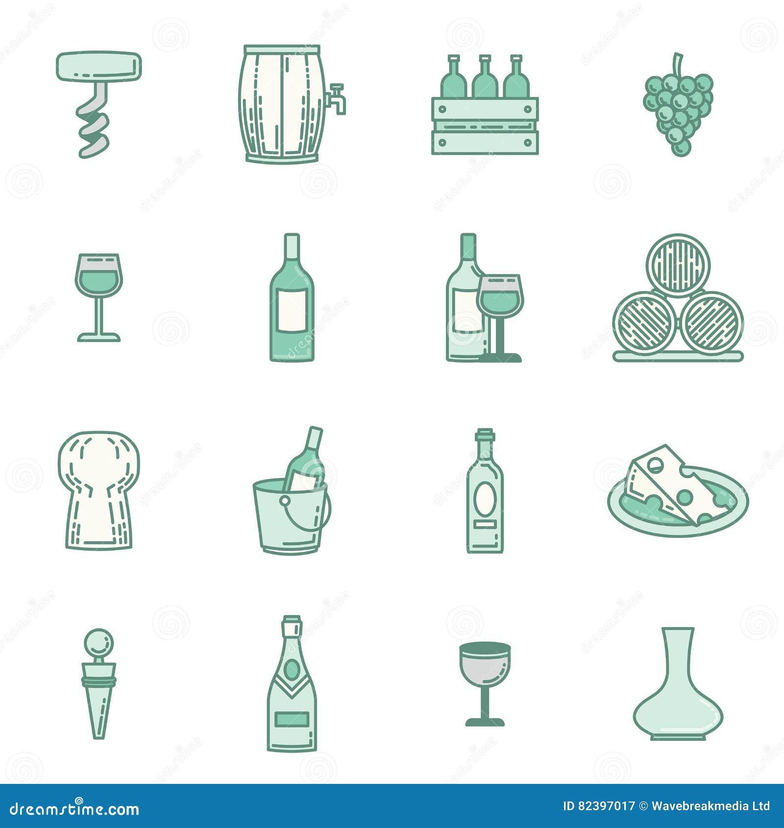 Vektorsymbolsuppsättning av vin