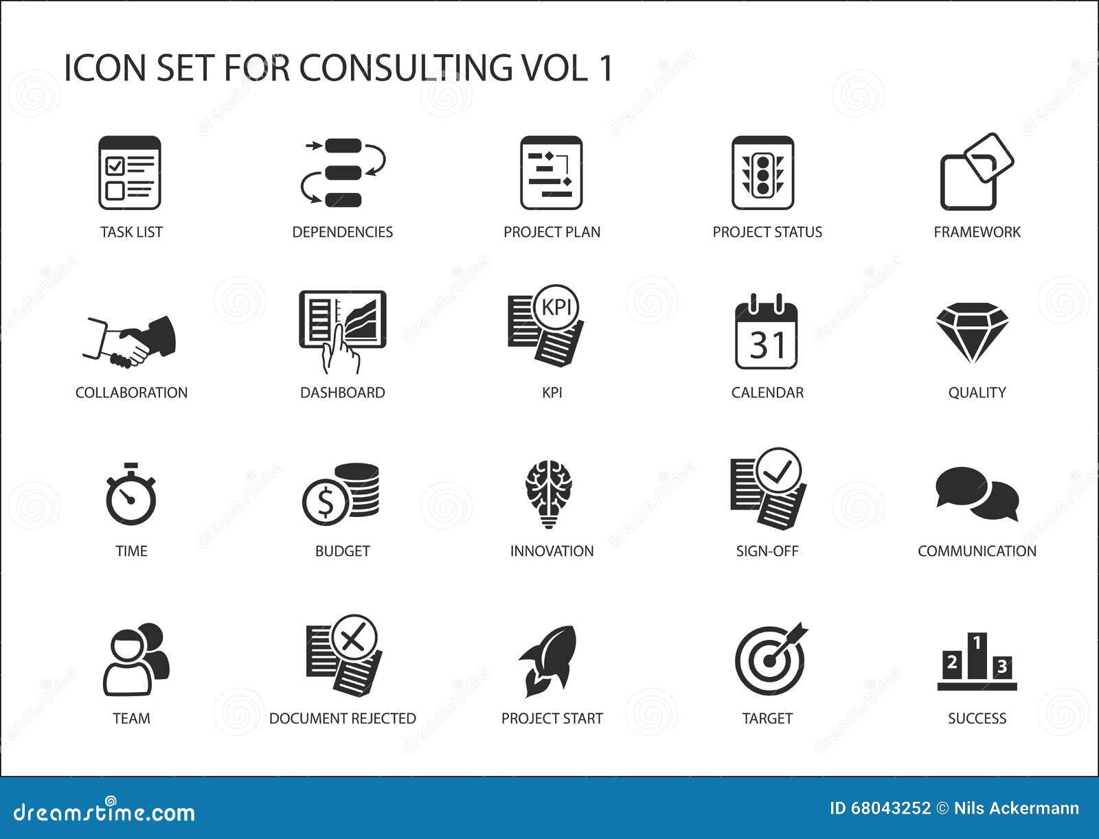Vektorsymbolsuppsättning för att konsultera för ämne Olika symboler för att konsultera för strategi, IT som konsulterar, konsulte
