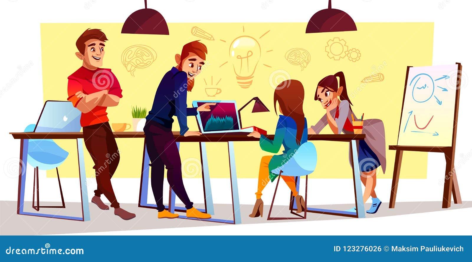 Vektortecknad filmfreelancers, formgivare på den coworking mitten