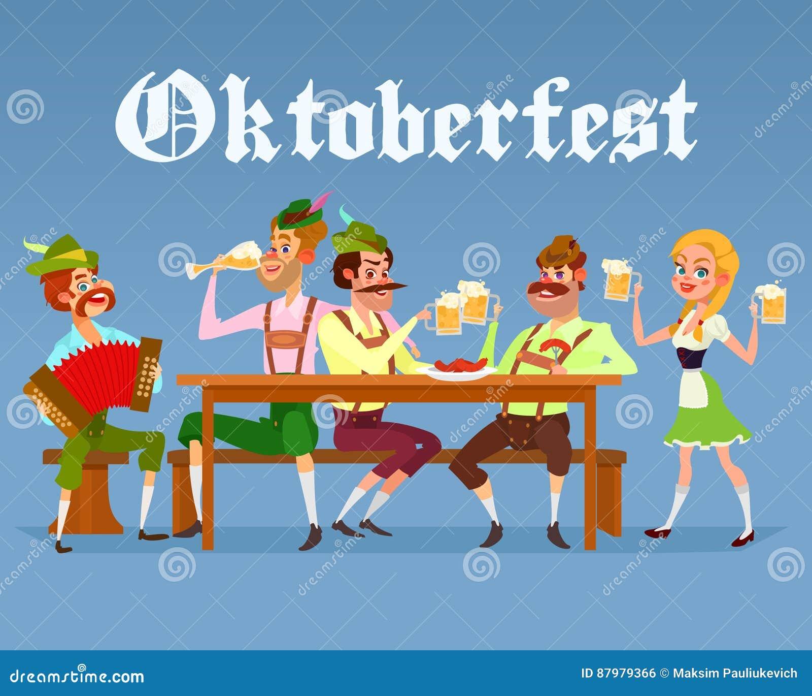 Vektortecknad filmillustration av roliga män som dricker öl under ölfestivalen Oktoberfest