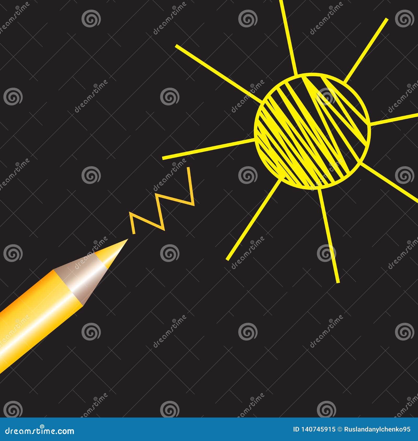 Vektorteckning av en blyertspennateckning av solen Varma linjer