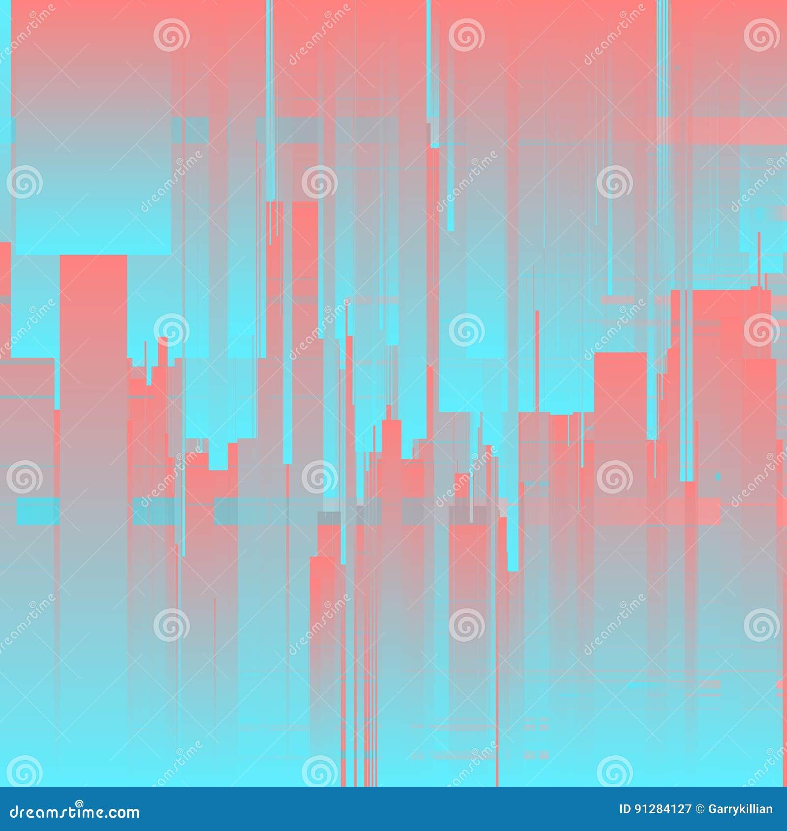 Vektortekniskt felbakgrund Futuristisk stad, abstrakta skyskrapor Distorsion för data för Digital bild