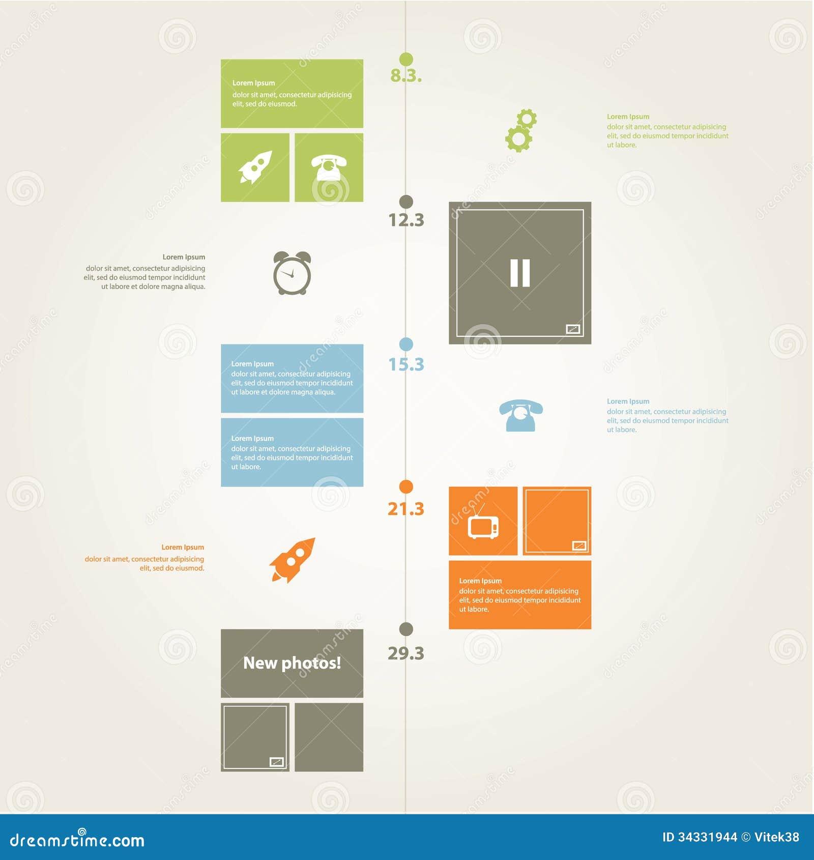Vektortimelinemall. Modern plan design i moderiktiga färger. S