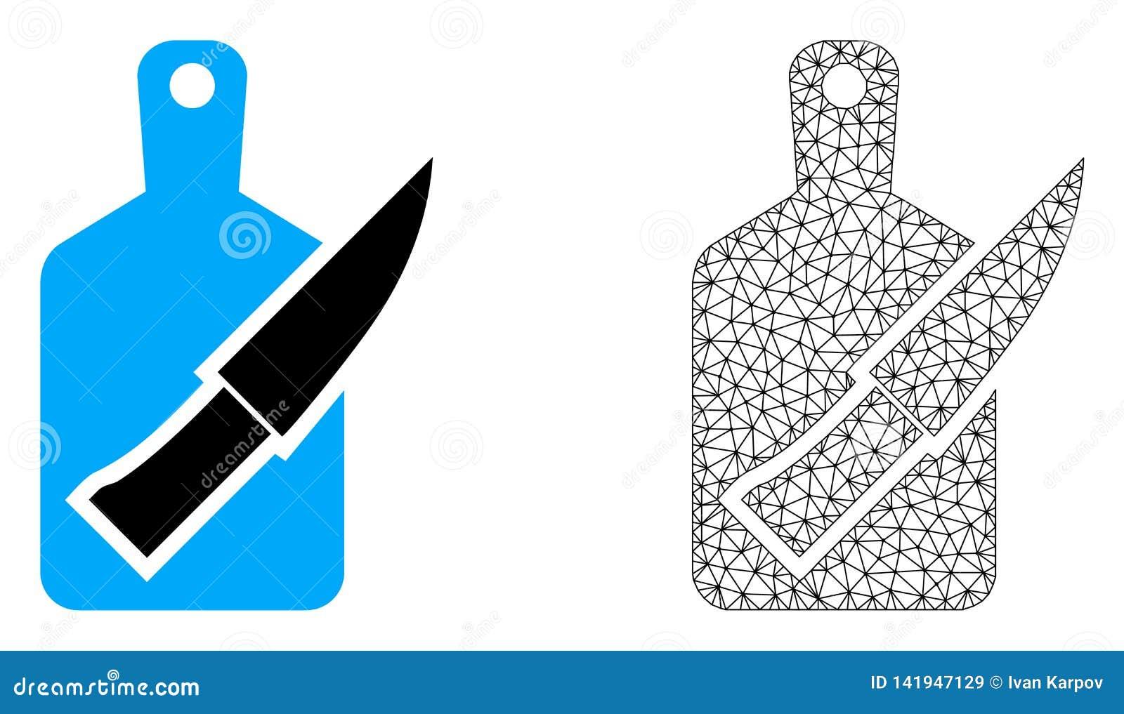 Vektortrådram Mesh Cutting Board och kniv och plan symbol