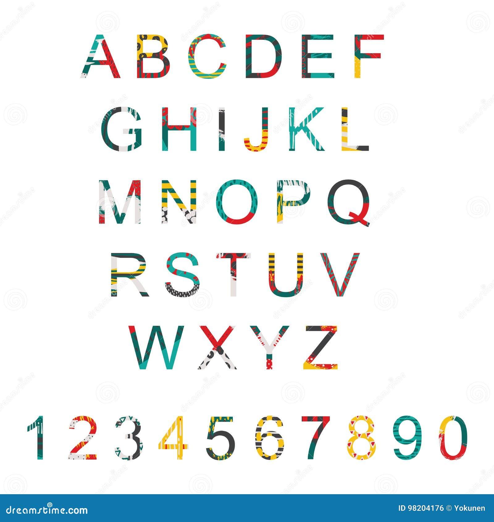 vektortypographie stellte mit alphabetbuchstabereihenfolge von a zu z und zahlen ein abc. Black Bedroom Furniture Sets. Home Design Ideas