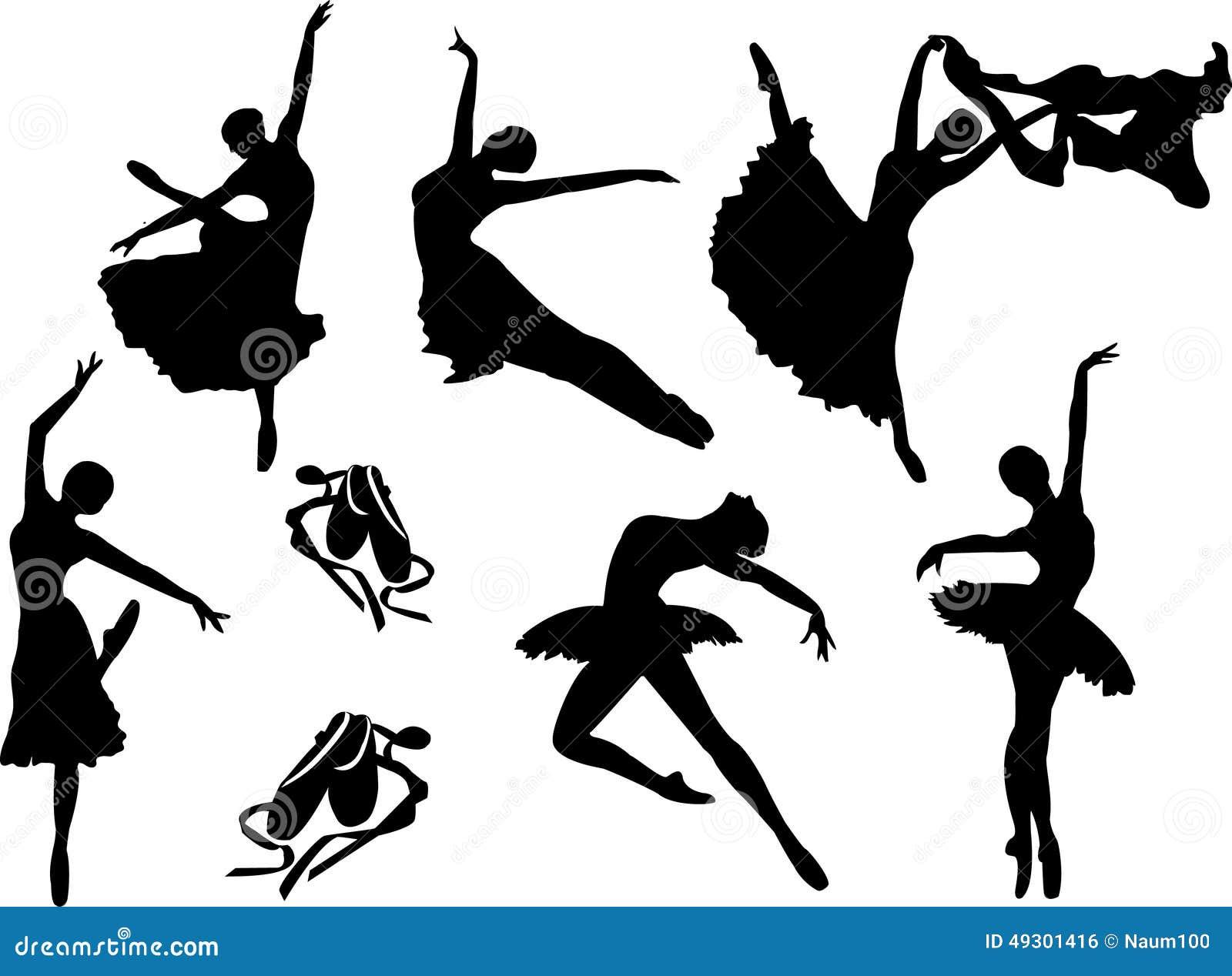 Vektoruppsättning av balettdansörkonturer