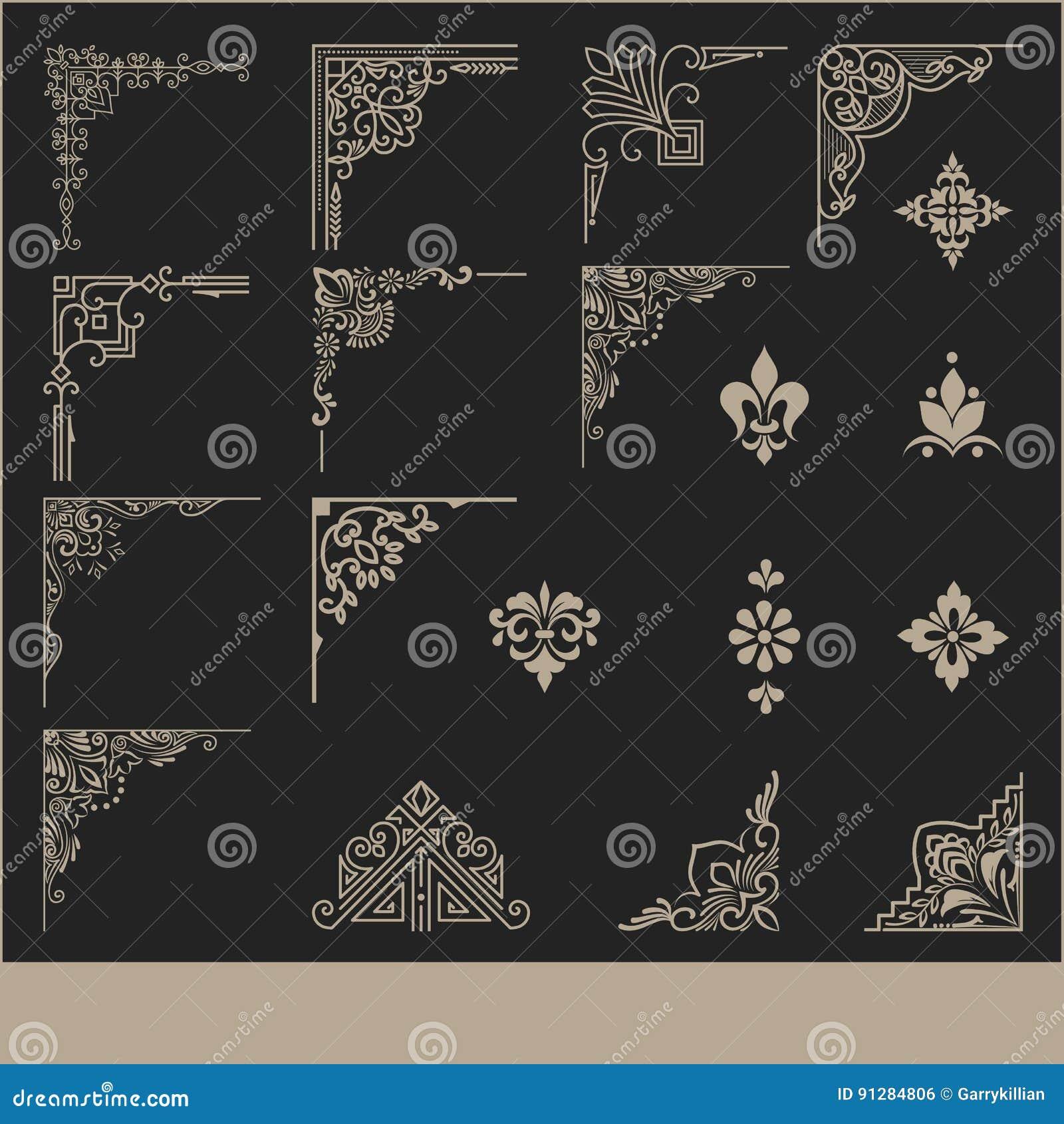 Vektoruppsättning av beståndsdelar för blom- design och sidagarnering Elegant hand drog beståndsdelar för dina designer