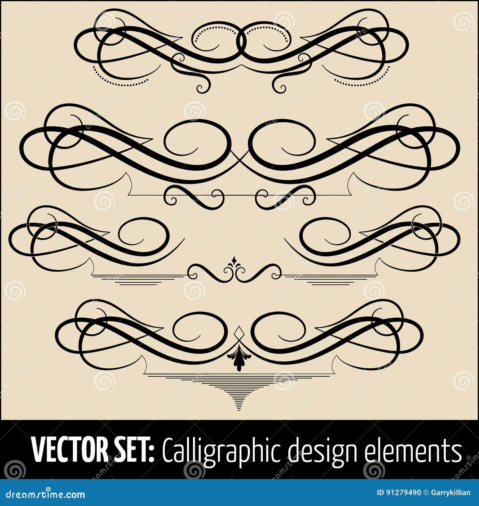 Vektoruppsättning av calligraphic och för sidagarneringdesign beståndsdelar Eleganta beståndsdelar för din design
