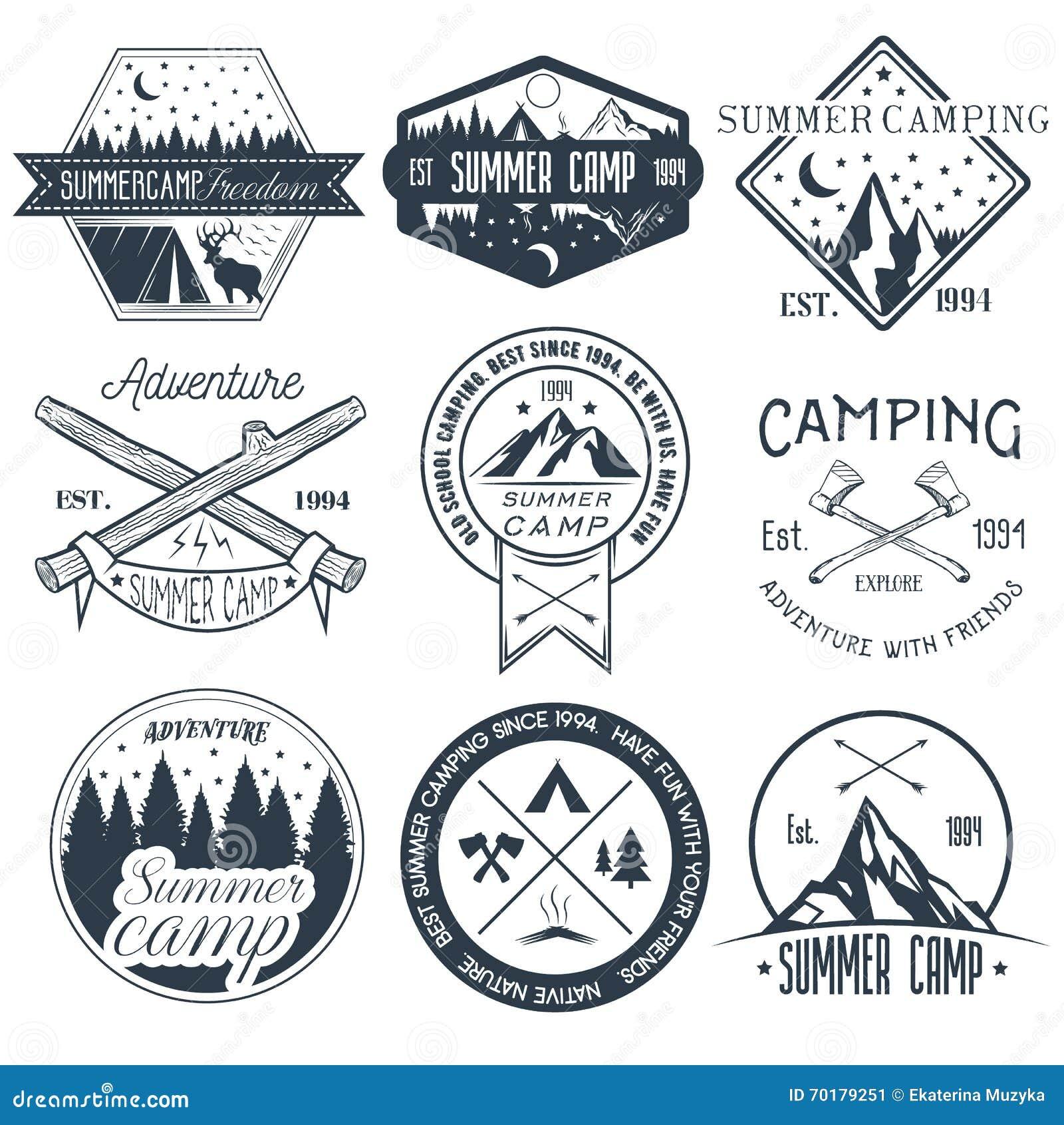 Vektoruppsättning av campa etiketter i tappningstil För affärsföretagbegrepp för koloni utomhus- illustration