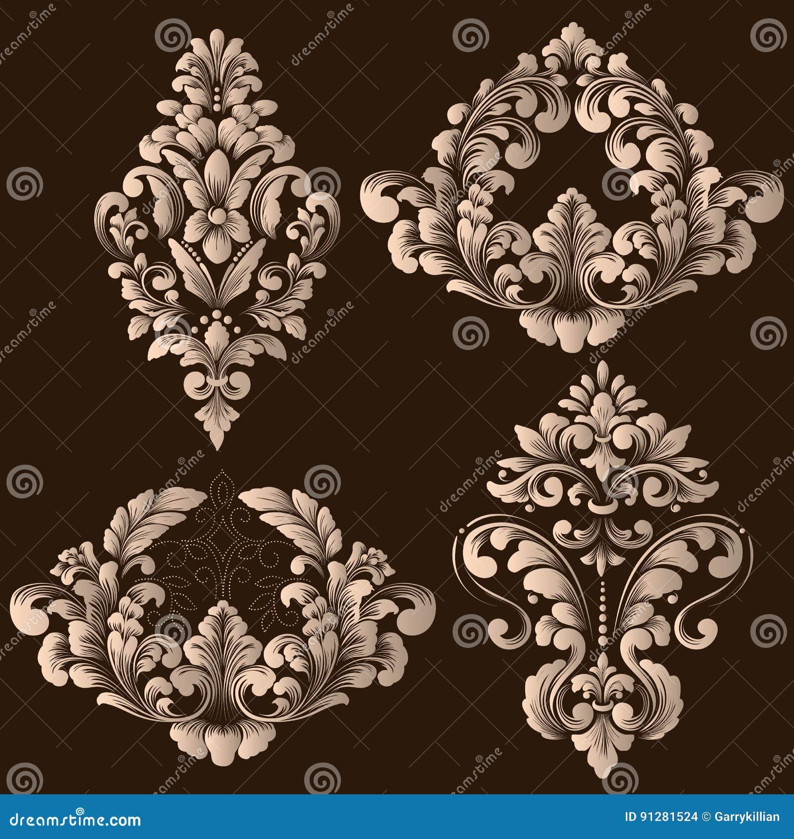 Vektoruppsättning av damast dekorativa beståndsdelar Eleganta blom- abstrakta beståndsdelar för design