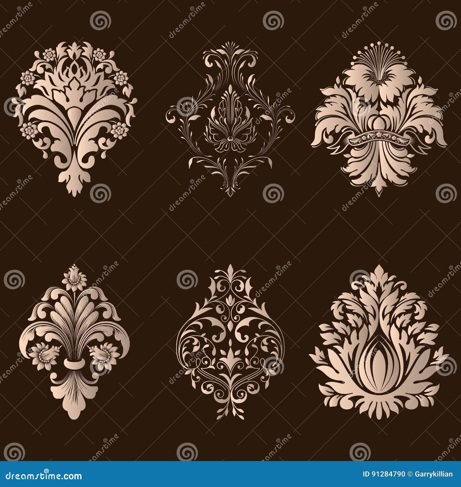Vektoruppsättning av damast dekorativa beståndsdelar Eleganta blom- abstrakta beståndsdelar för design Göra perfekt för inbjudnin