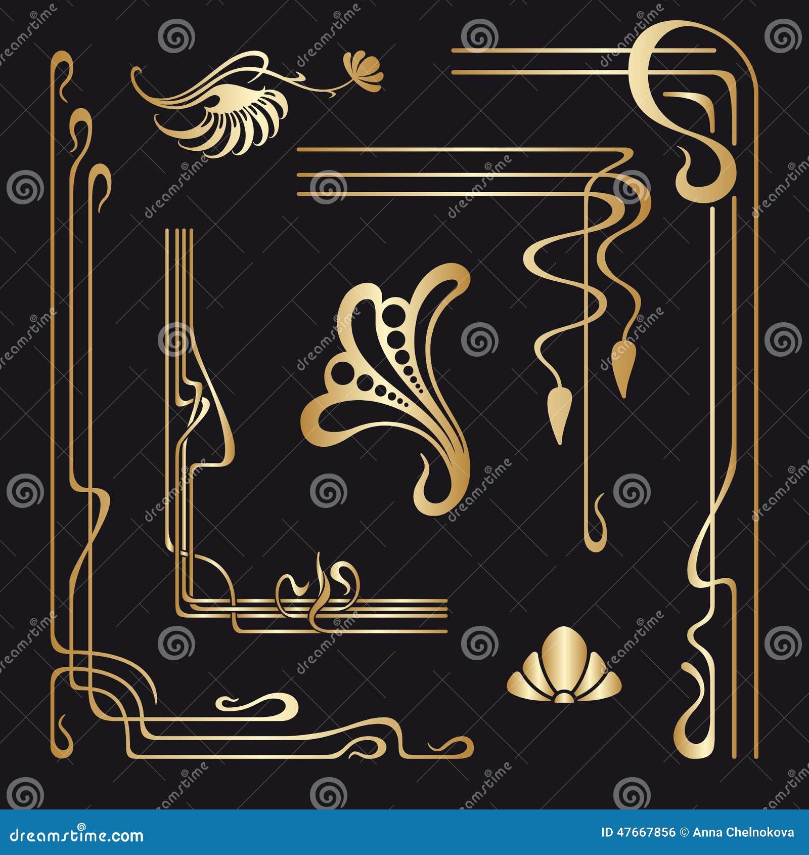 Vektoruppsättning av dekorativa beståndsdelar för jugendstil