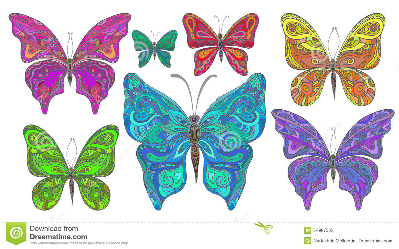 Vektoruppsättning av dekorativa fjärilar för colorfull som isoleras på whit