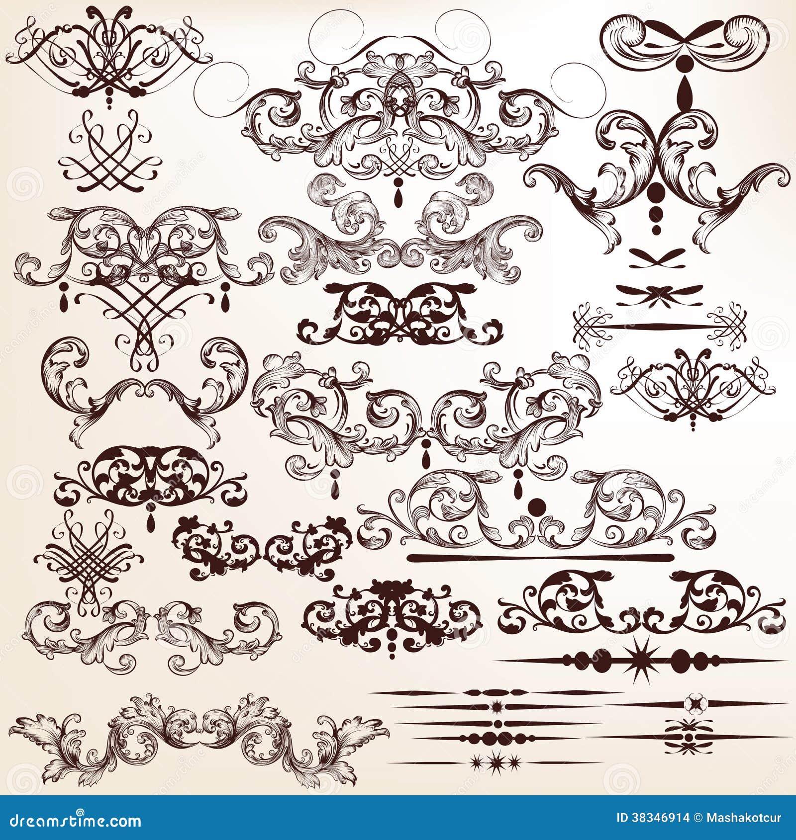 Vektoruppsättning av dekorativa krusidullar för design i tappningstil