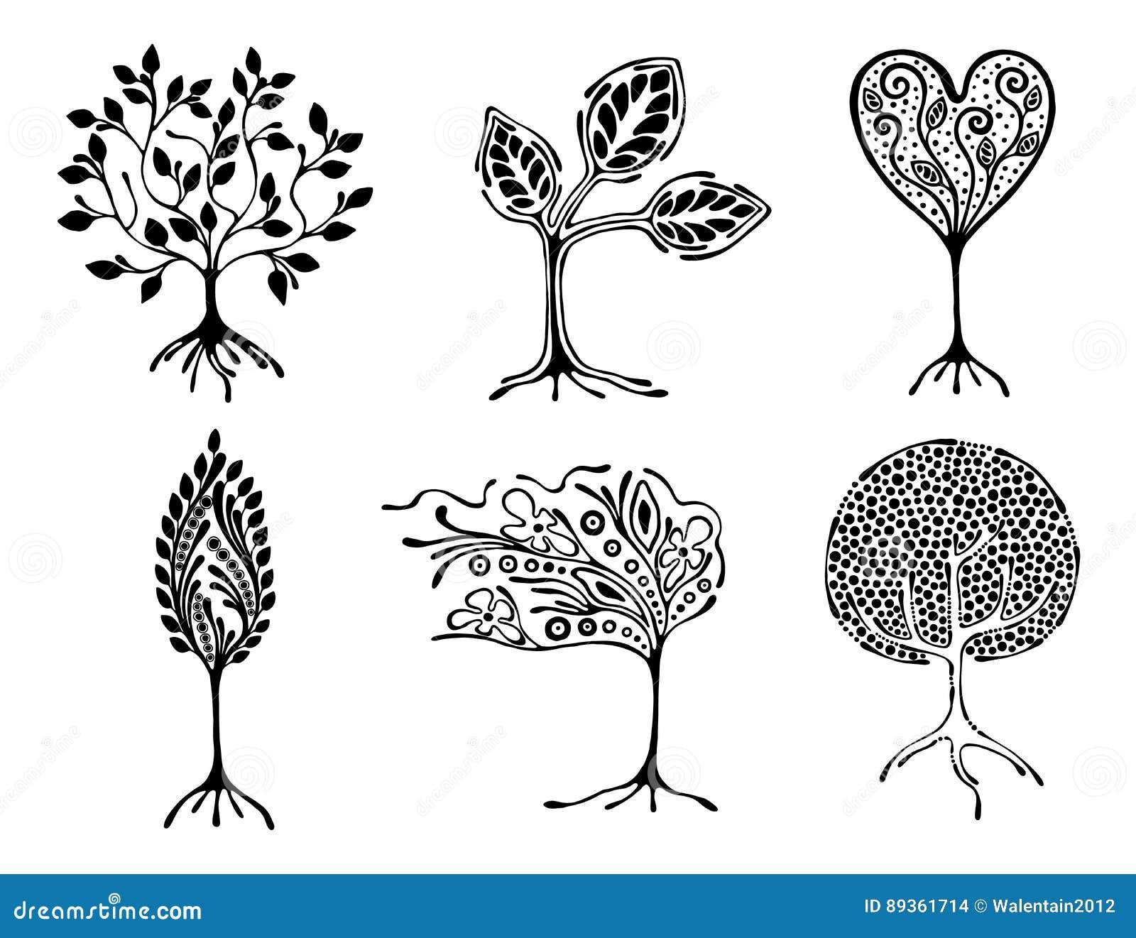 Vektoruppsättning av den hand drog illustrationen, dekorativt dekorativt stiliserat träd Svartvit grafisk illustration som isoler