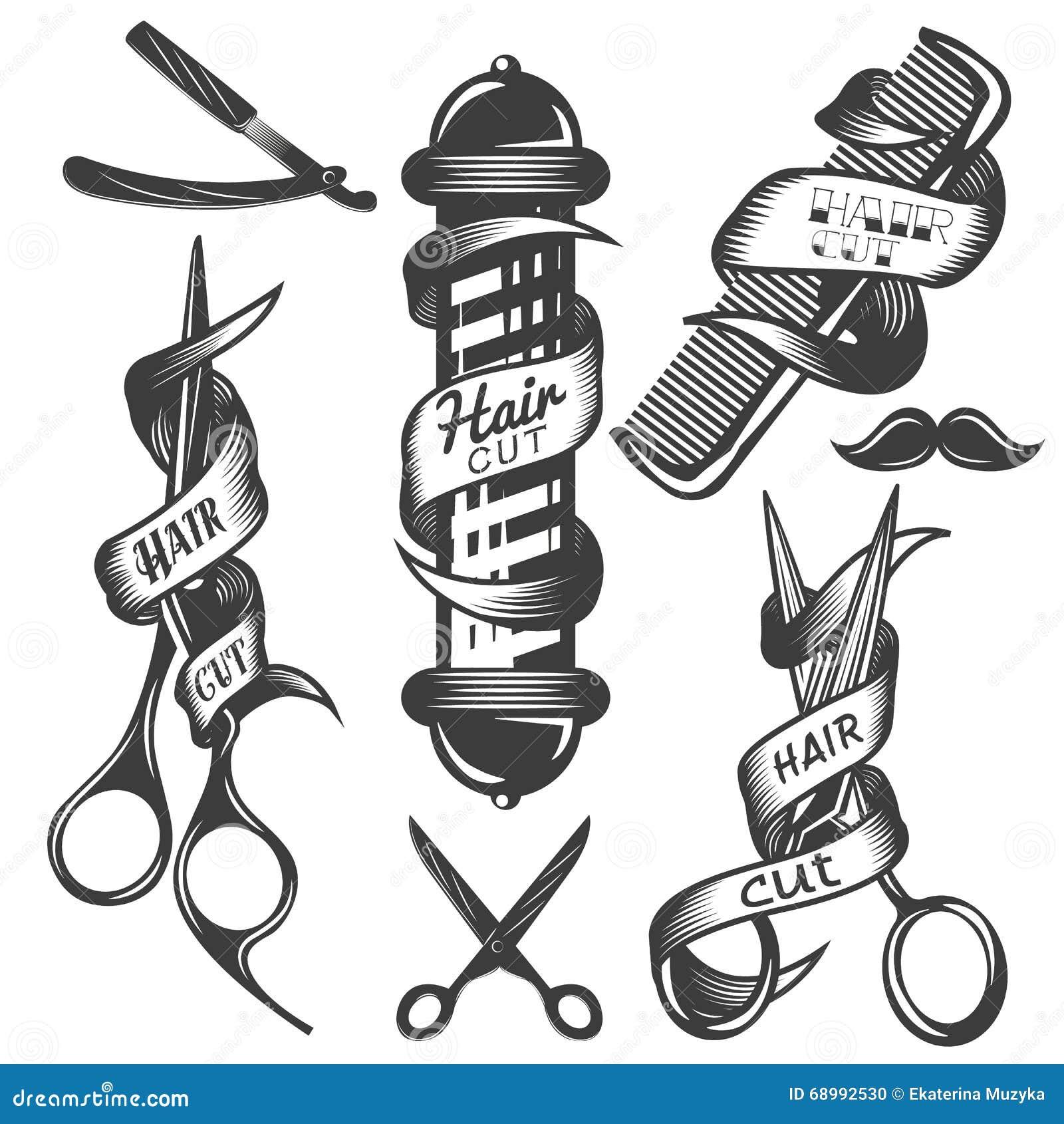 Vektoruppsättning av etiketter för vektor för hårsalong i tappningstil Den hårsnittskönhet och barberaren shoppar, sax, blad