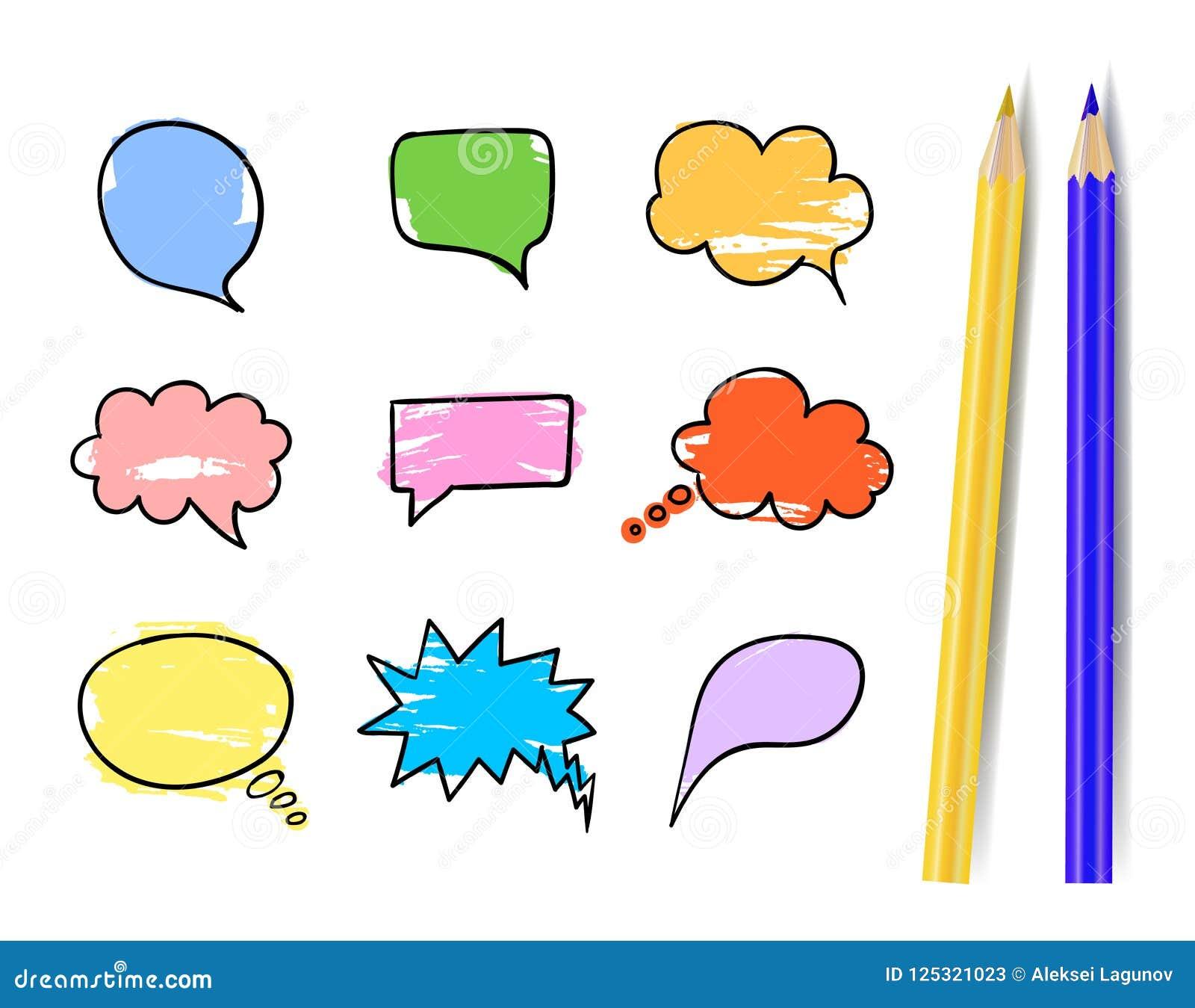 Vektoruppsättning av färgrika samtalbubblor med realistiska isolerade guling- och blåttblyertspennor