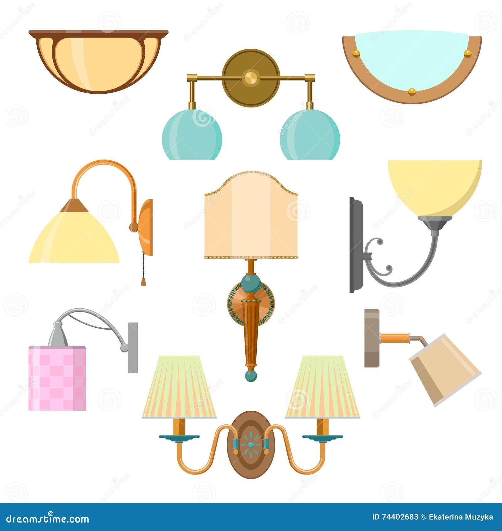 Vektoruppsättning av hem- ljus i plan stil Illustration med lampor på vit bakgrund