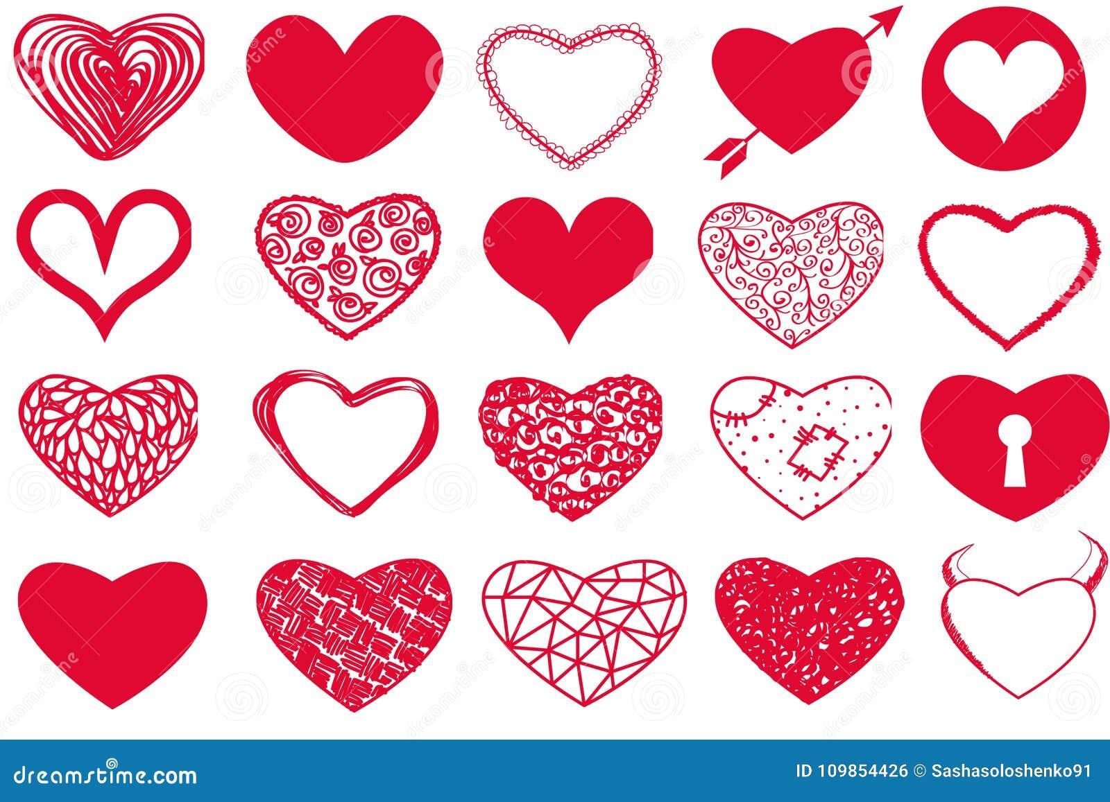 Vektoruppsättning av hjärtor för dag för valentin` s röda på vit bakgrund