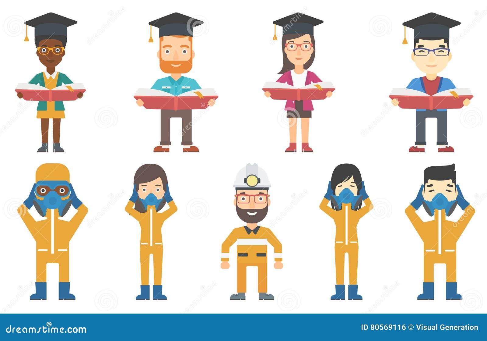 Vektoruppsättning av illustrationer med kandidater