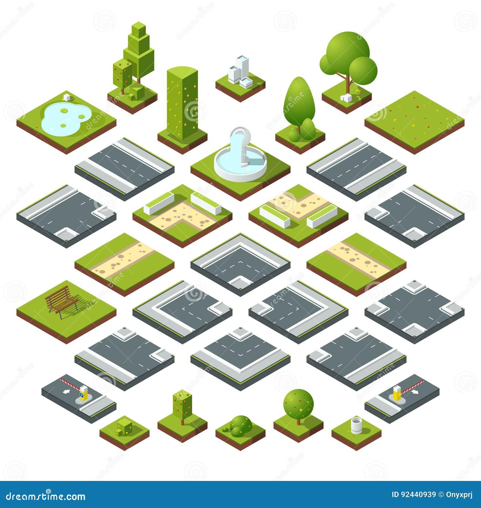 Vektoruppsättning av isometriska stadsbeståndsdelar, tvärgator, väg, trädgårds- garnering Bänkar, springbrunnträd och buskar