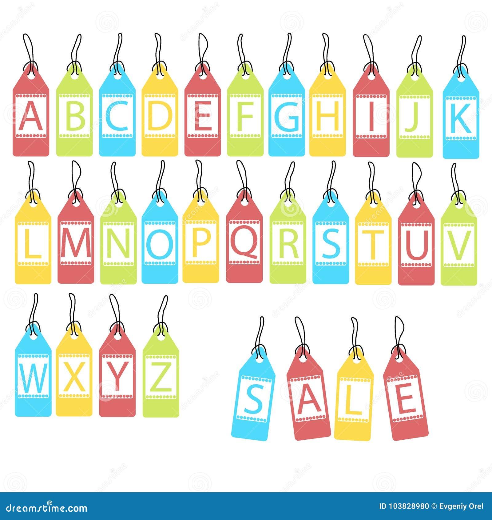 Vektoruppsättning av ljusa olika bokstäver abstrakt alfabet