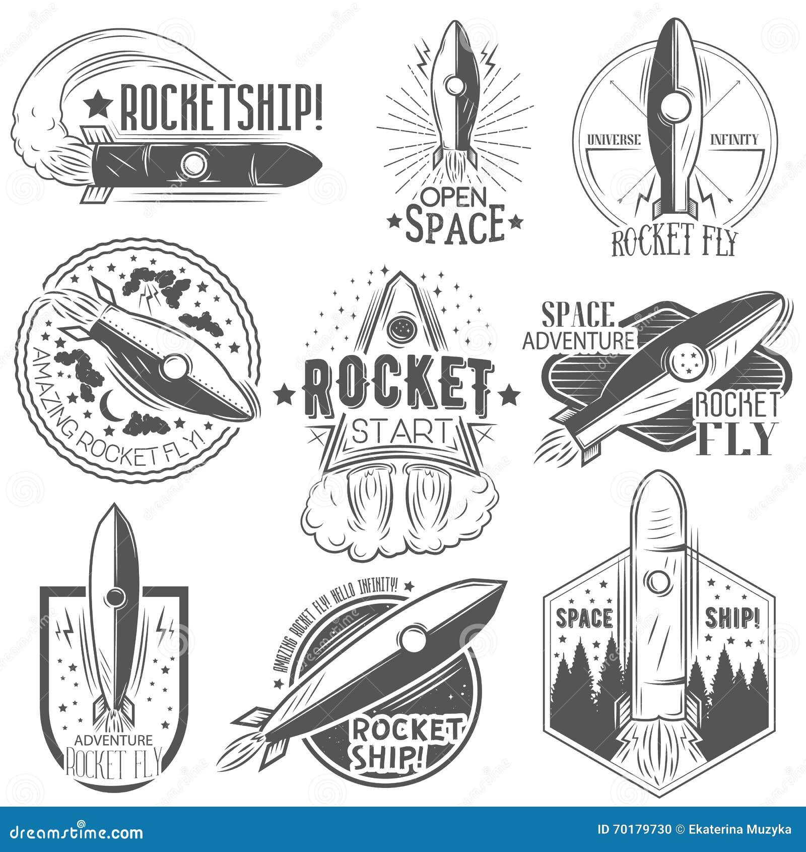 Vektoruppsättning av raketlanseringsetiketter i tappningstil