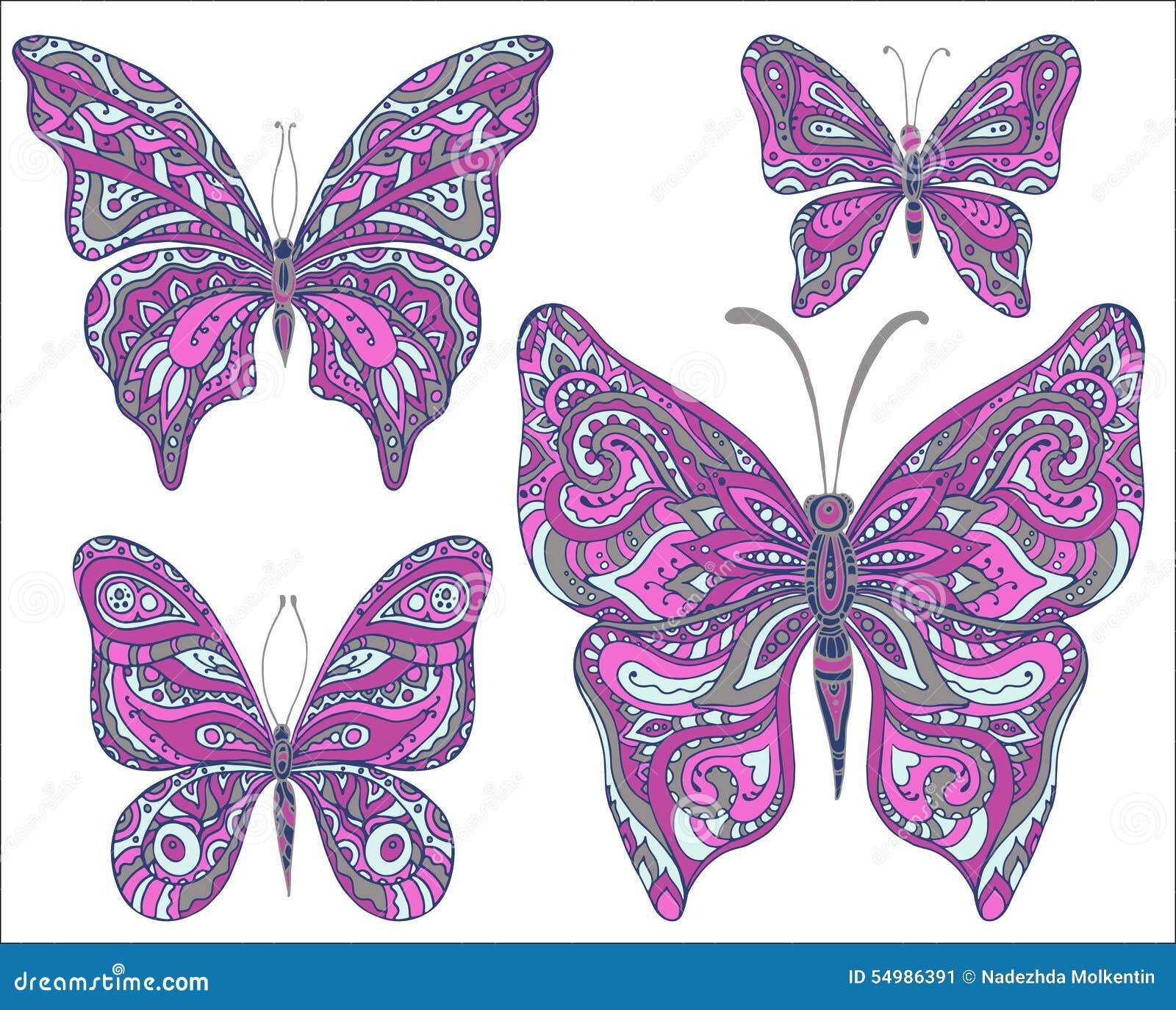 Vektoruppsättning av rosa dekorativa fjärilar som isoleras på vitbac