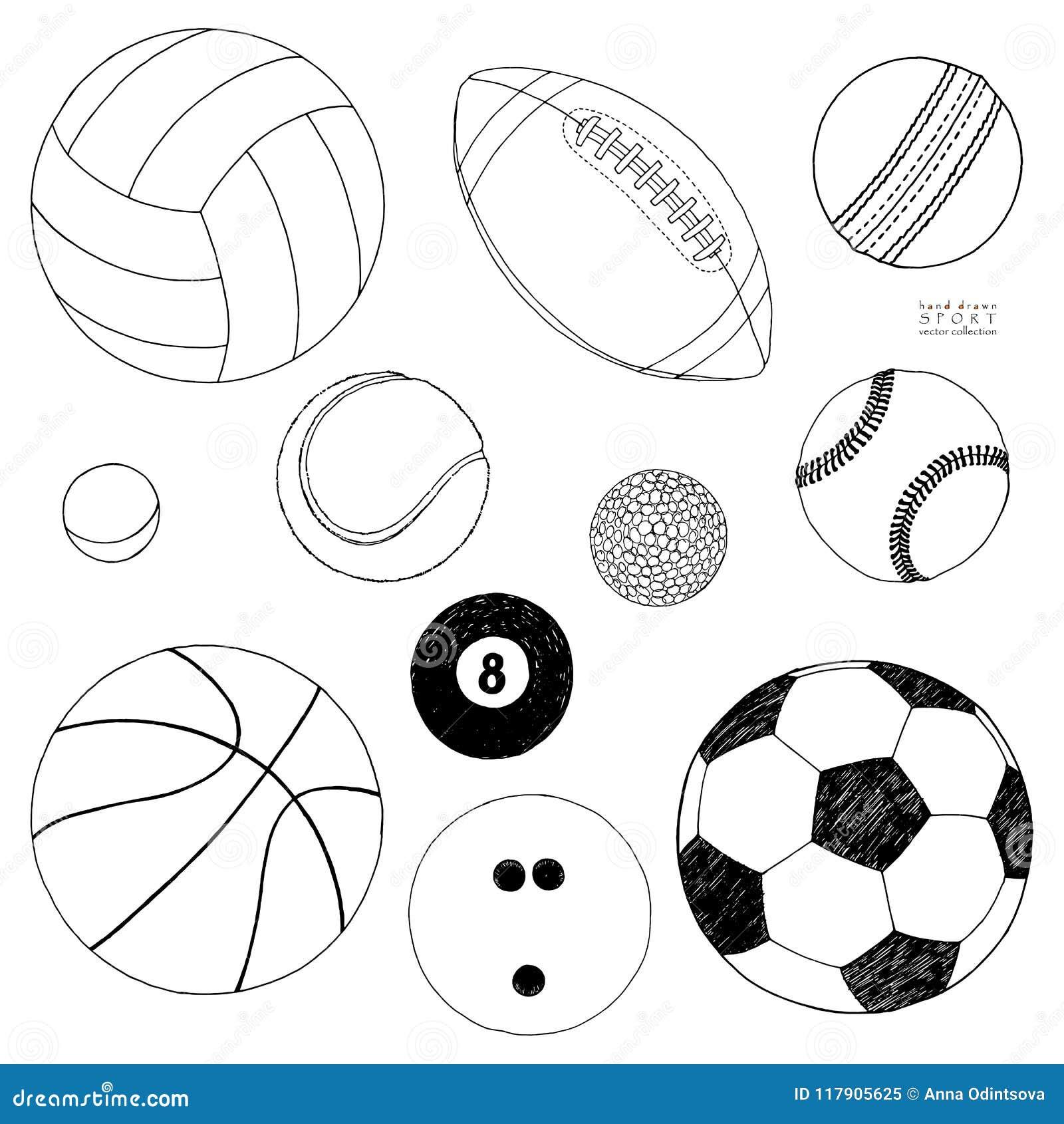 Vektoruppsättning av sportbollar Den tecknade handen skissar bakgrund isolerad white