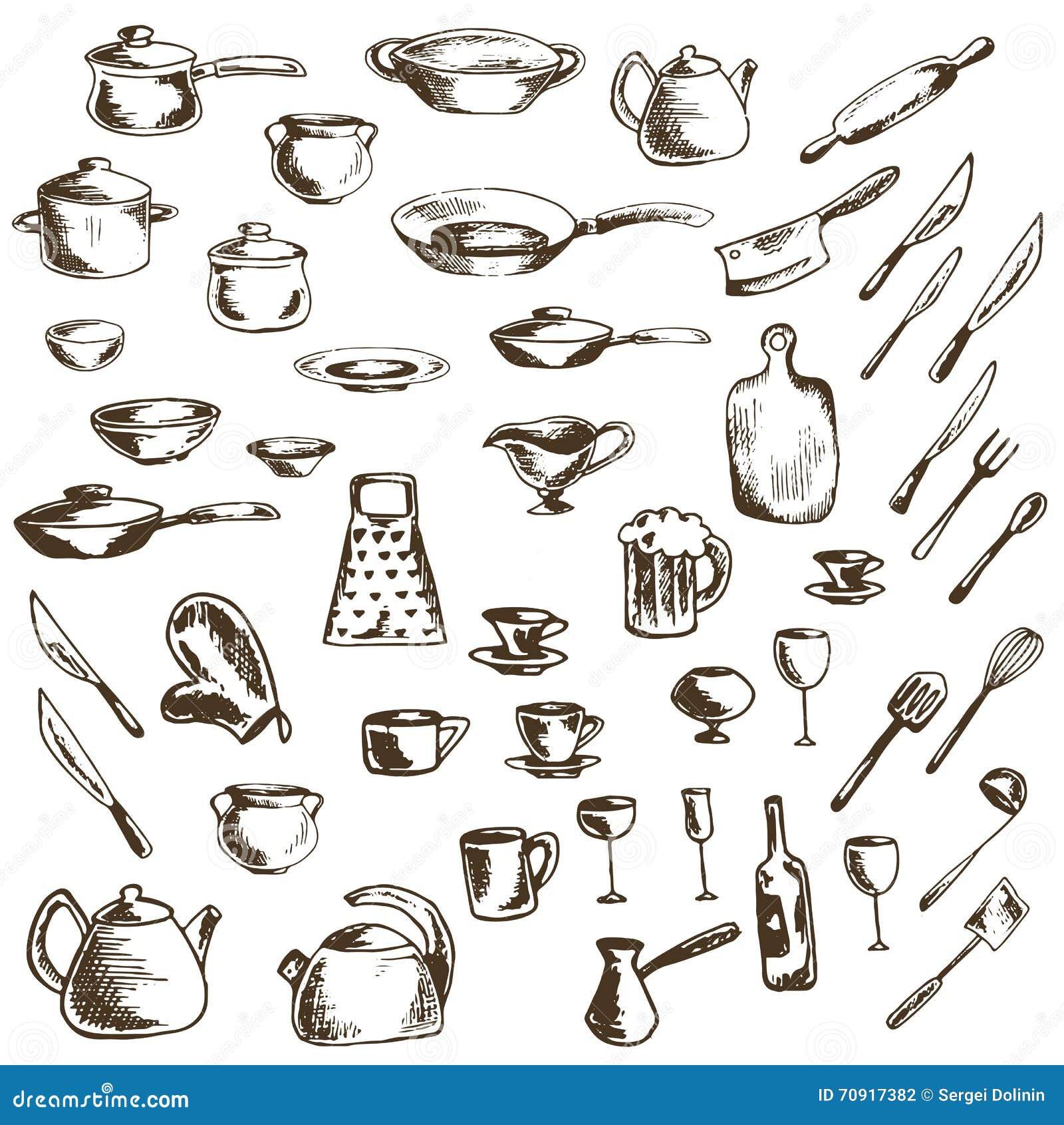 Vektoruppsättning av summariska symboler av disk och köksgeråd
