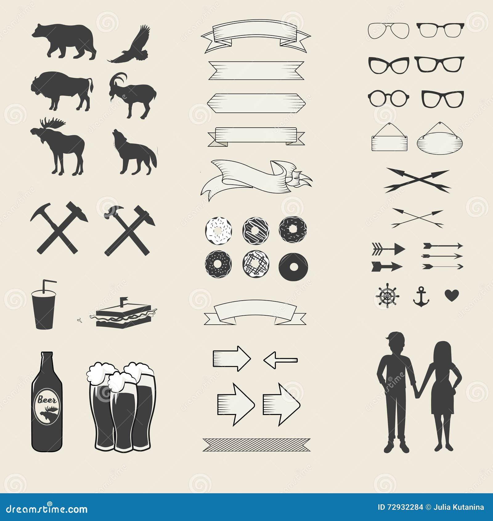 Vektoruppsättning av symboler och etiketter för din design