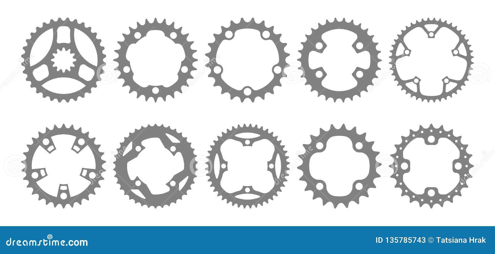 Vektoruppsättning av tio chainring konturer för cykel