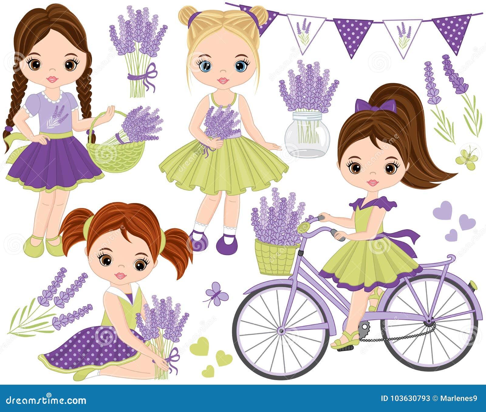 Vektoruppsättning med gulliga små flickor, lavendel, cykeln och Bunting