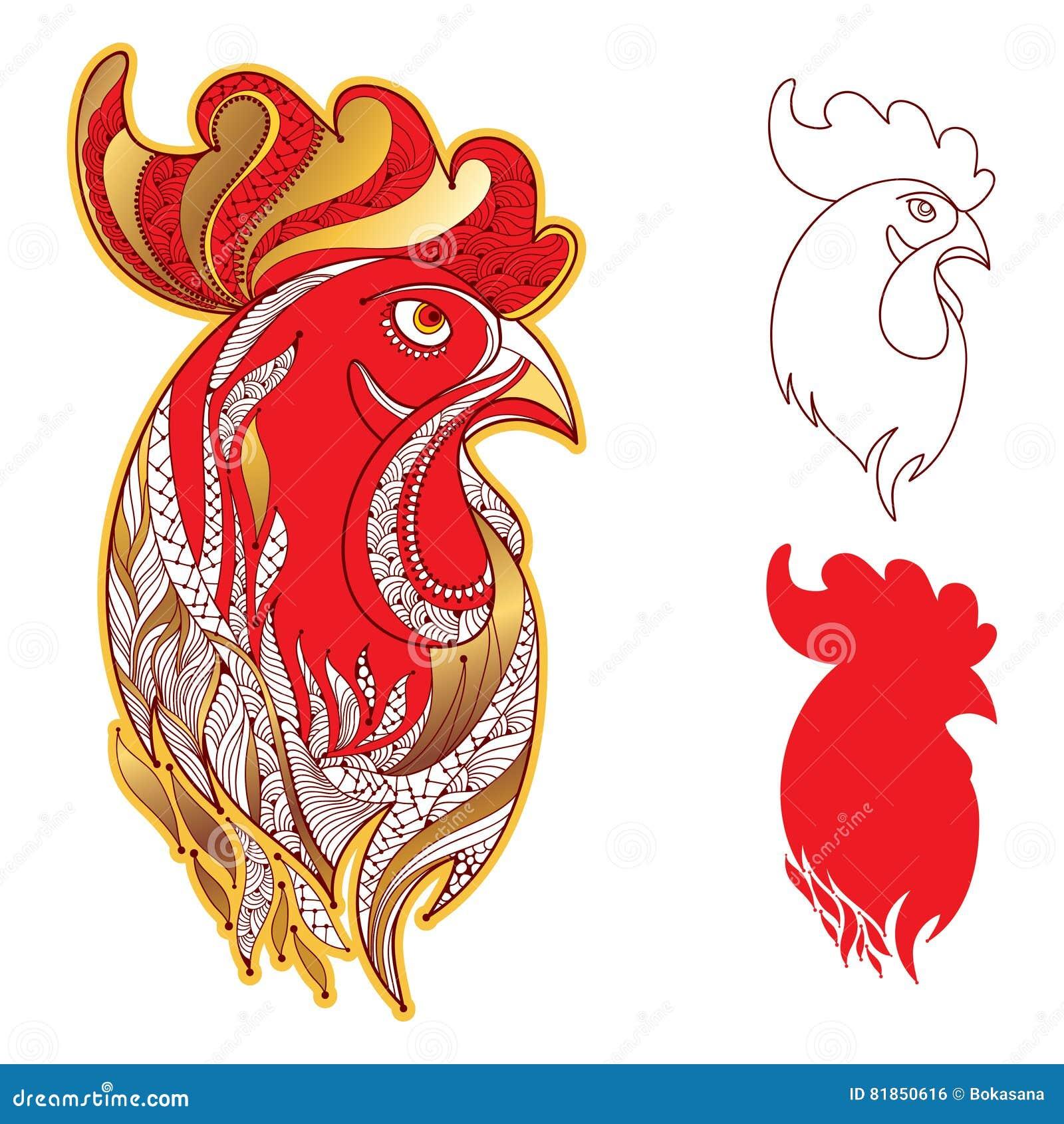 Vektoruppsättning med tupp- eller hanehuvudprofil i guld- och rött på vit Symbol av det nya året 2017 i kinesisk kalender