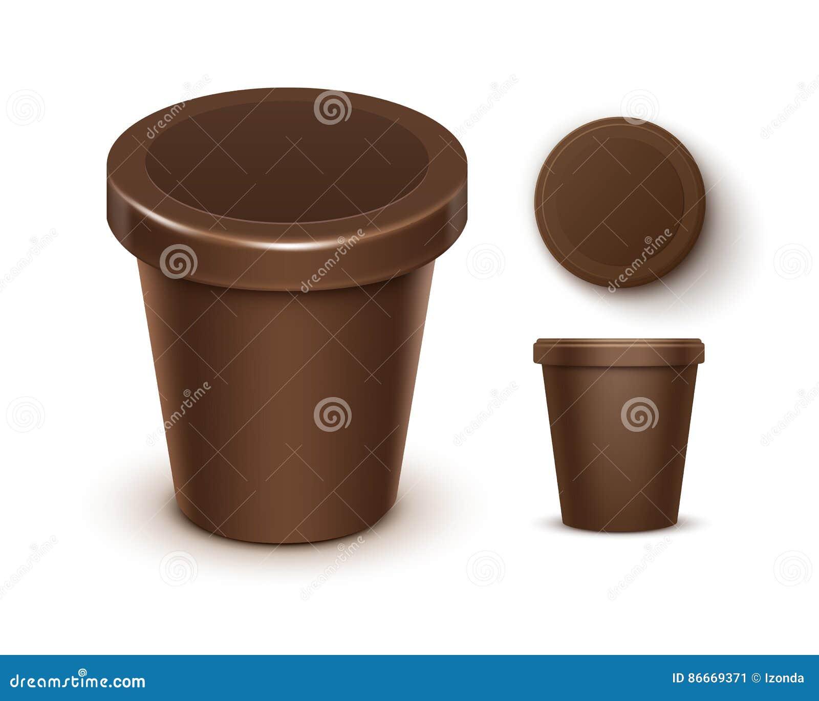 Vektoruppsättningen av brun matplast- badar för chokladefterrätten, yoghurten, glass med etiketten för åtlöje för packedesign upp